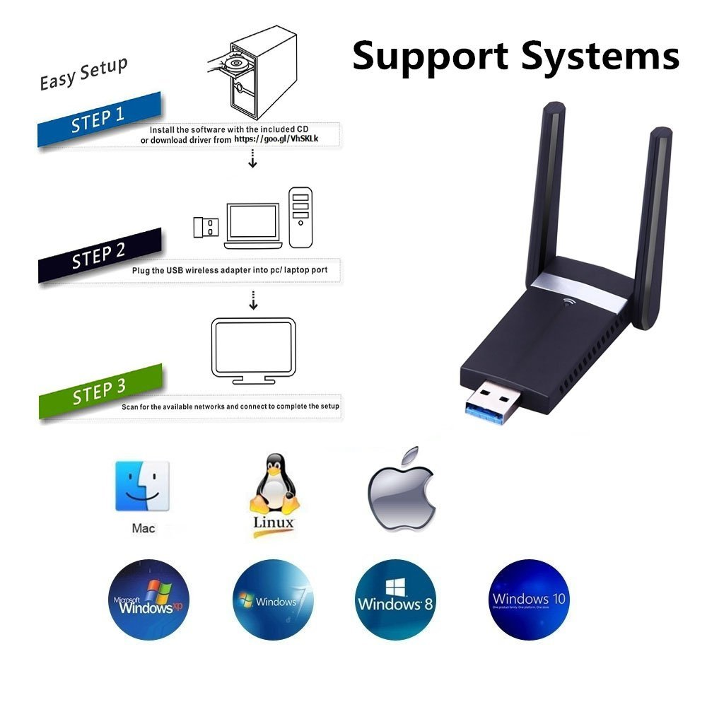 Details about USB Wifi Adapter 1200Mbps,USB 3 0 Wireless Network Wifi  Dongle with 2dBi Antenna