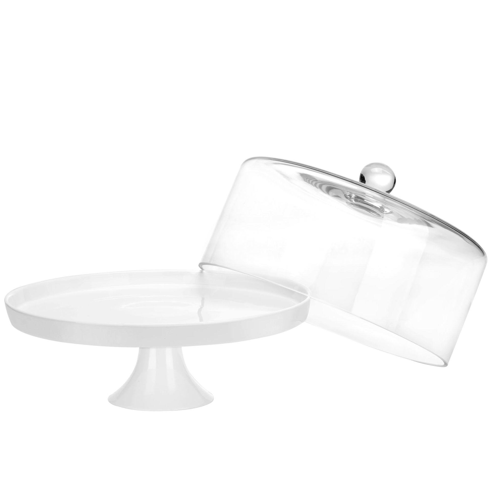 Sentinel Ceramic Cake Stand u0026 Dome  sc 1 st  eBay & VonShef 30cm Cake Cupcake White Ceramic Display Stand with Glass ...