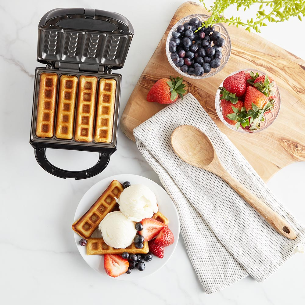 vonshef stick waffle maker iron machine electric 4 slice. Black Bedroom Furniture Sets. Home Design Ideas