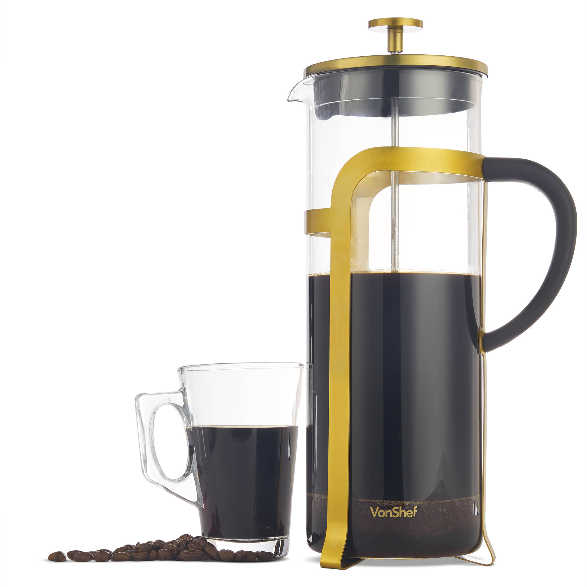 Details About Vonshef Glass Cafetiere Coffee Maker 12 Cup 15l Chrome Finish French Press