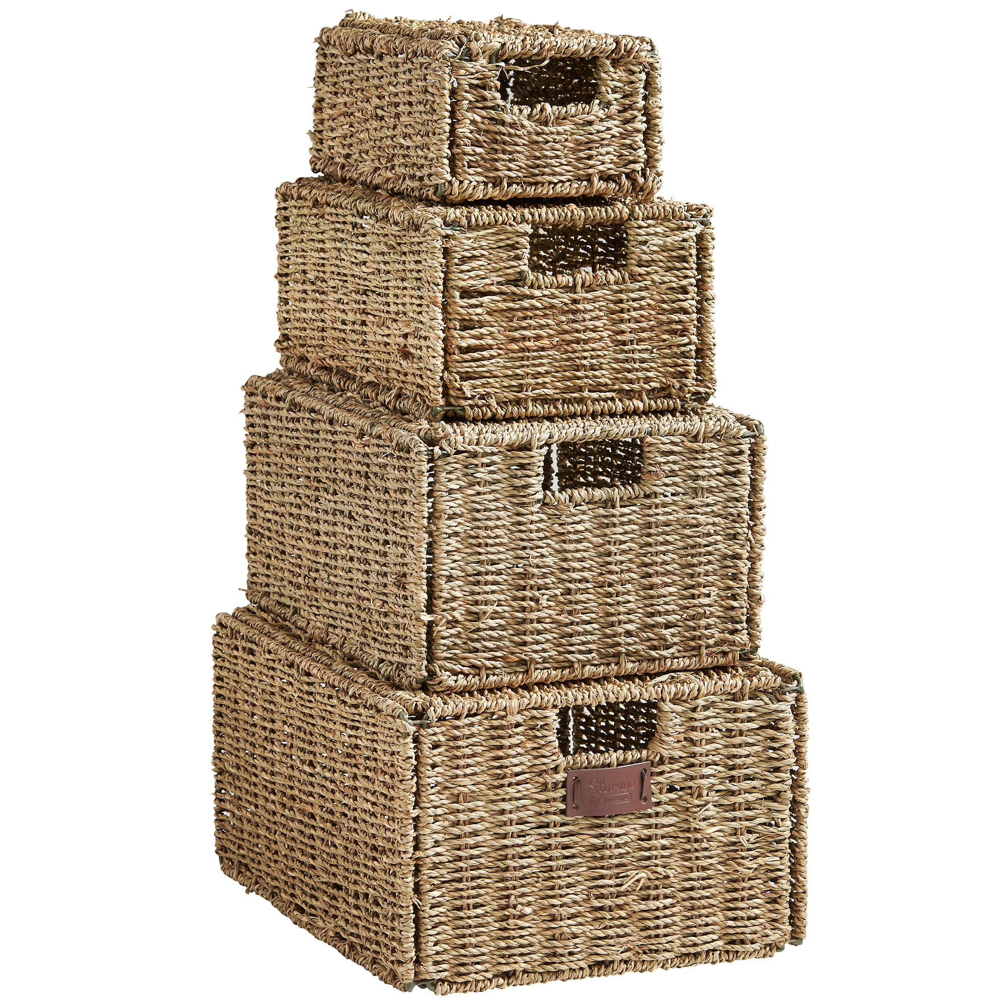 Vonhaus Set Of 4 Natural Seagrass Hand Woven Storage