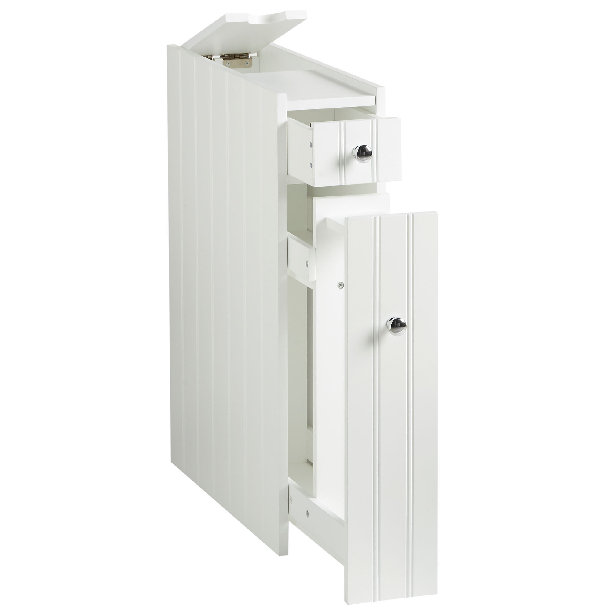 VonHaus Colonial Bathroom Slimline Unit Cupboard White Space Saving Cabinet 691166403943