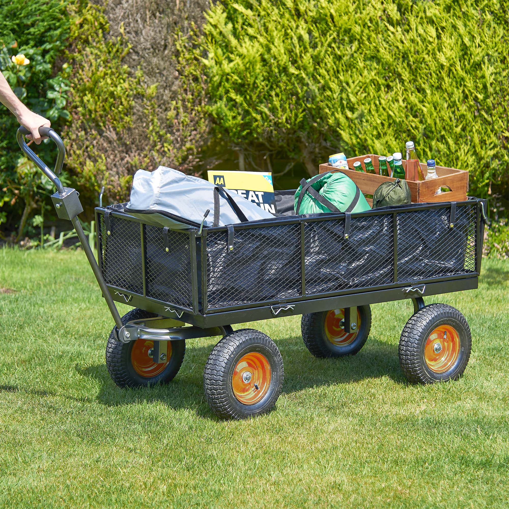 diy garden heavy itm sentinel cart wheeled mesh vonhaus with trailer lining duty