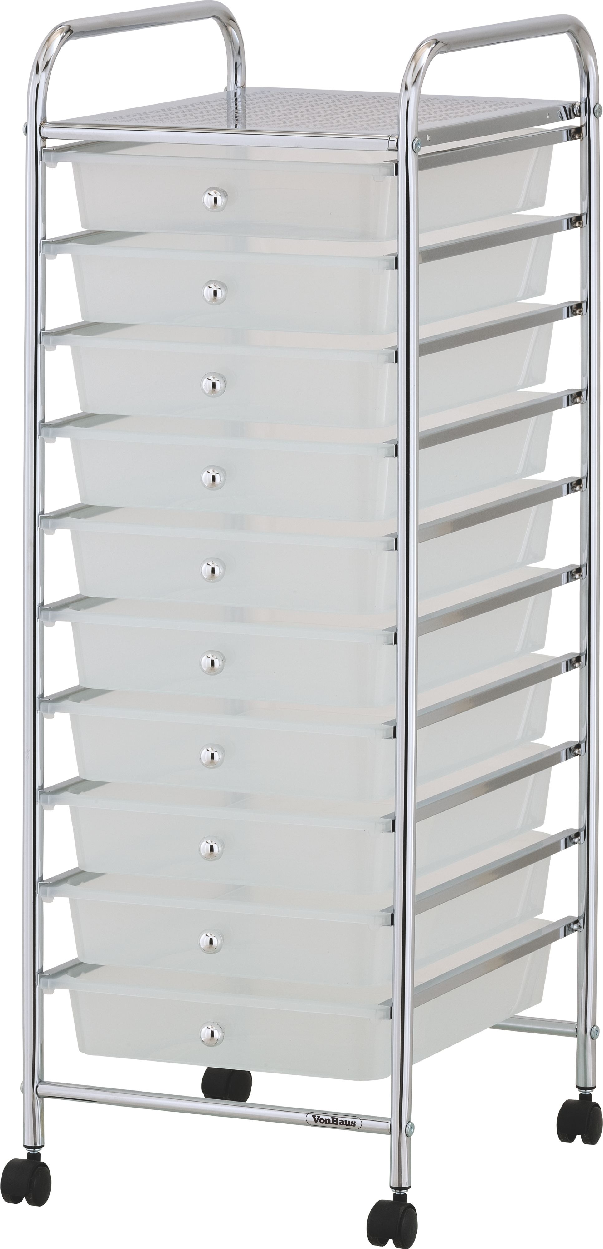 Sentinel VonHaus 10 Drawer Mobile Storage Trolley For Home Office Or Beauty  Salon White