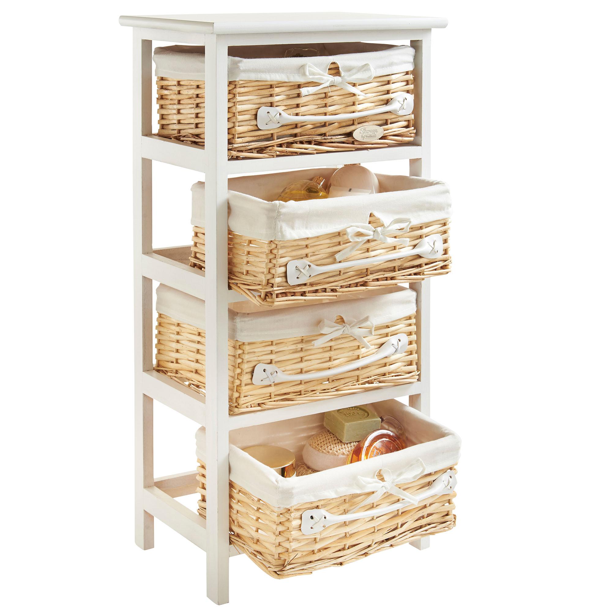 Vonhaus 4 Drawer Wicker Basket Wood Storage Unit Bedroom