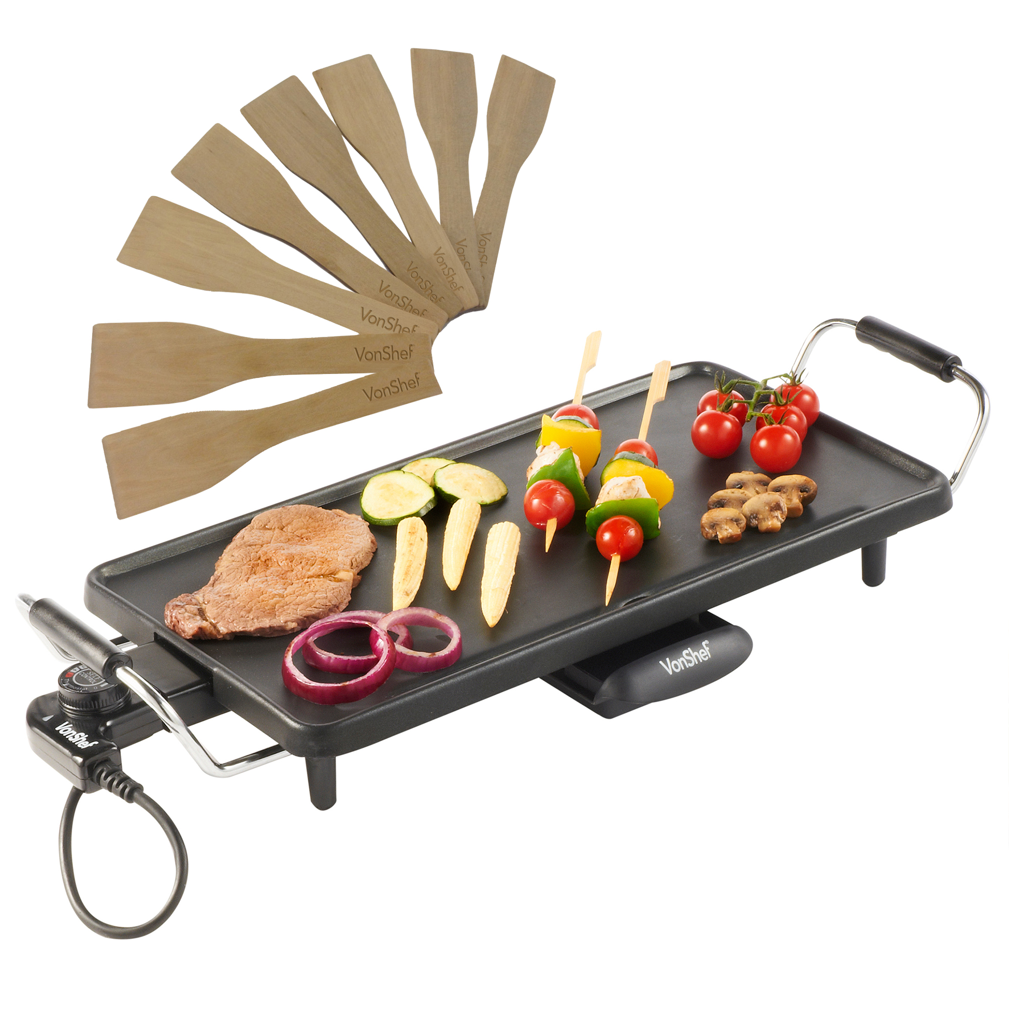 VonShef Electric Teppanyaki Table Top Grill Griddle BBQ Barbecue ...