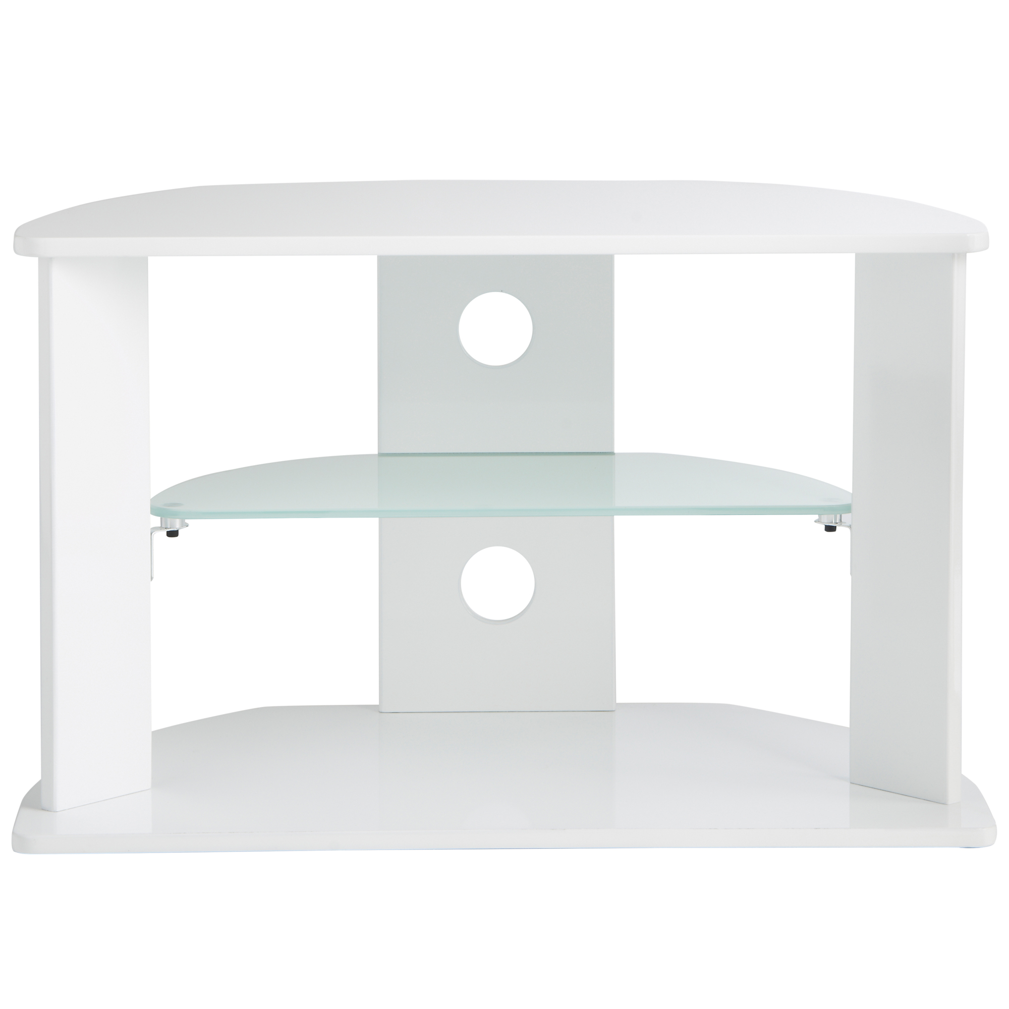 Sentinel Vonhaus High Gloss Mdf White Tv Stand With 3 Shelves