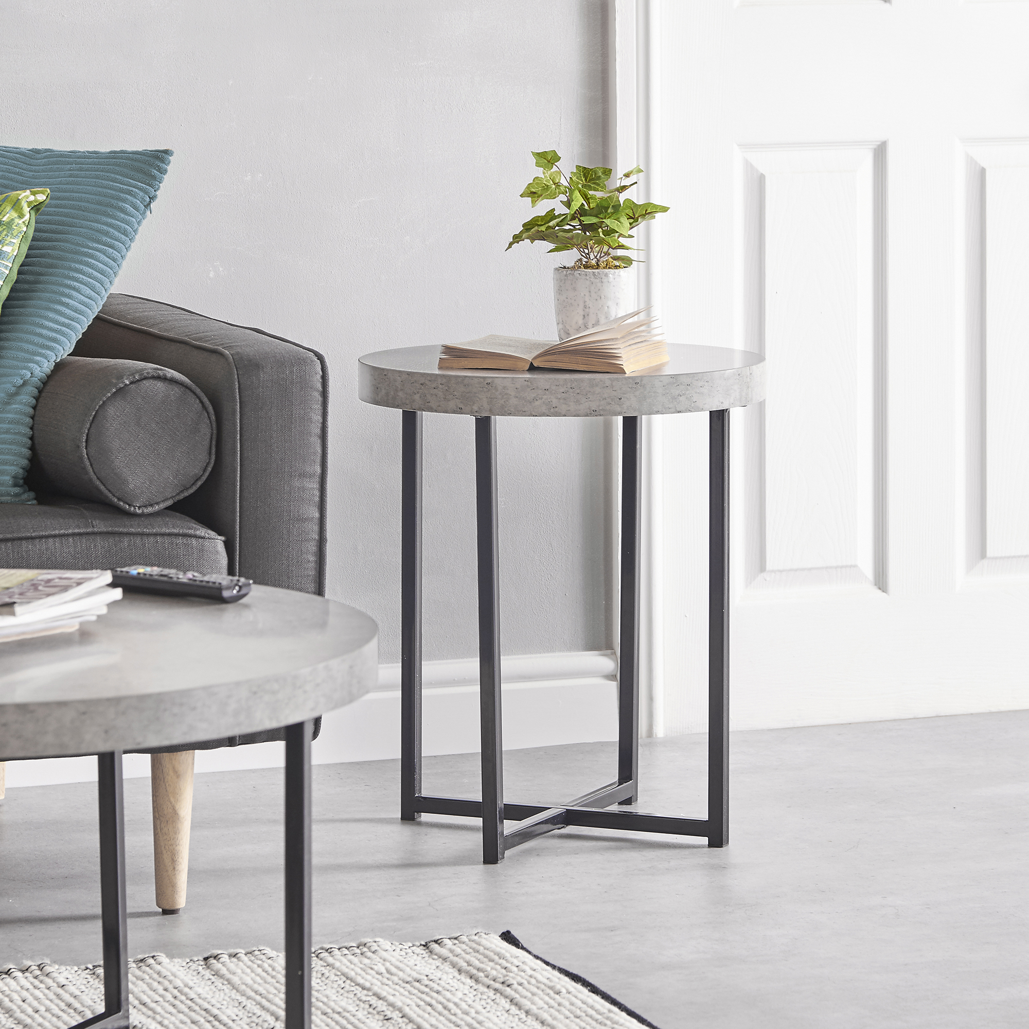 Details about vonhaus concrete look round side table modern lightweight contemporary furniture