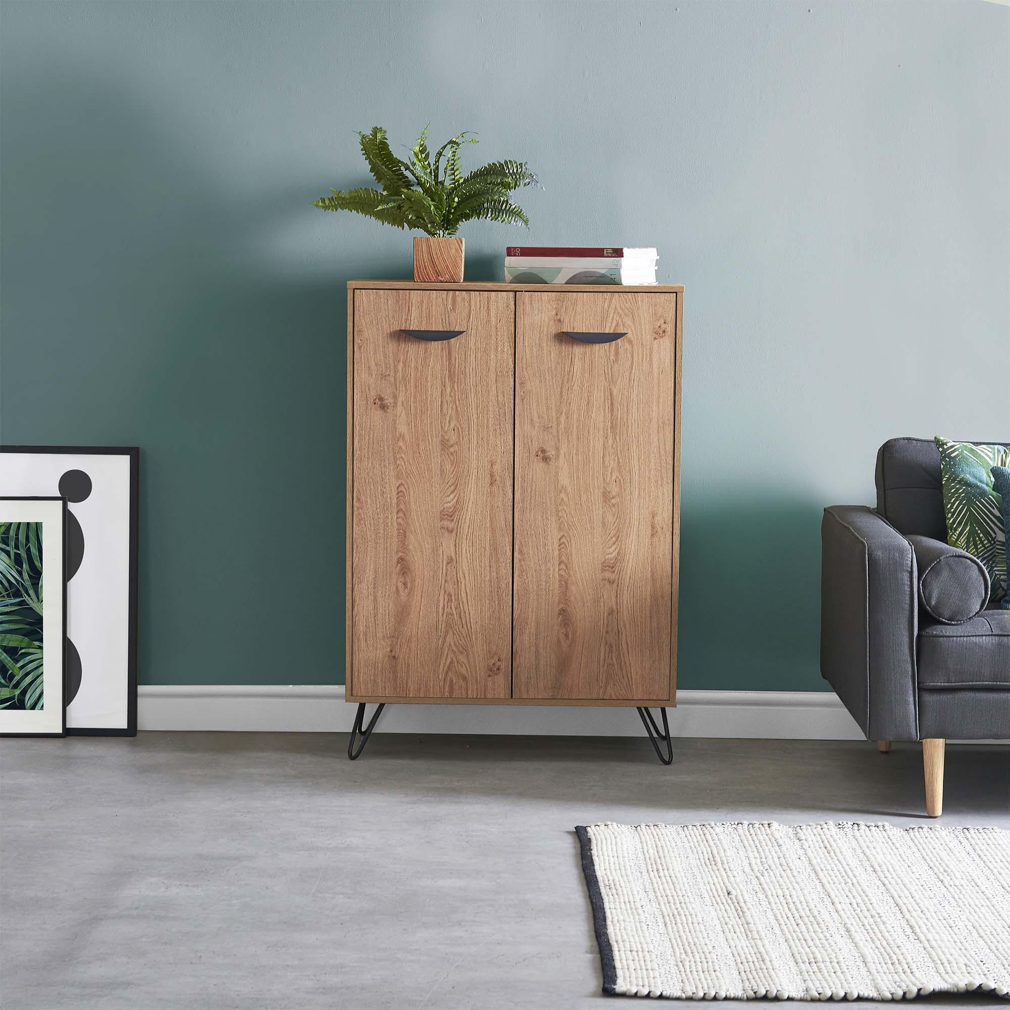 VonHaus Capri Sideboard 5 Shelves Oak Effect Tall Hallway Table Hairpin Legs 5056115708480 eBay