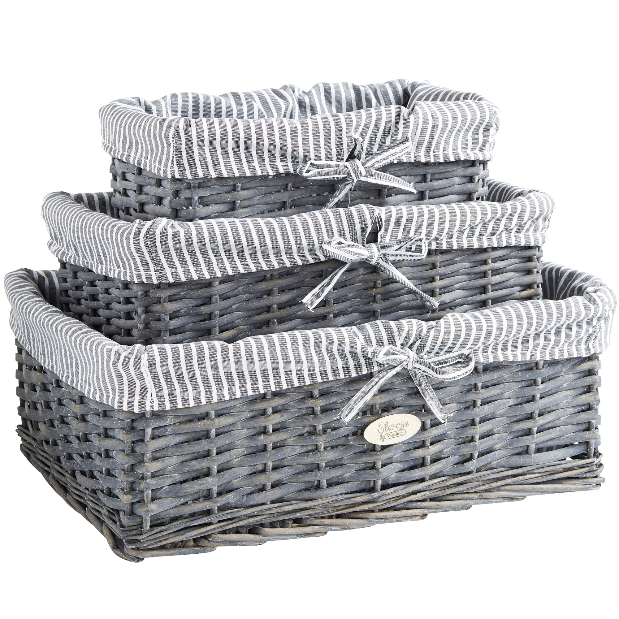 Sentinel VonHaus Set of 3 Grey Wicker Storage Baskets  sc 1 st  eBay & VonHaus Set of 3 Wicker Storage Baskets with Removable Stripe Fabric ...