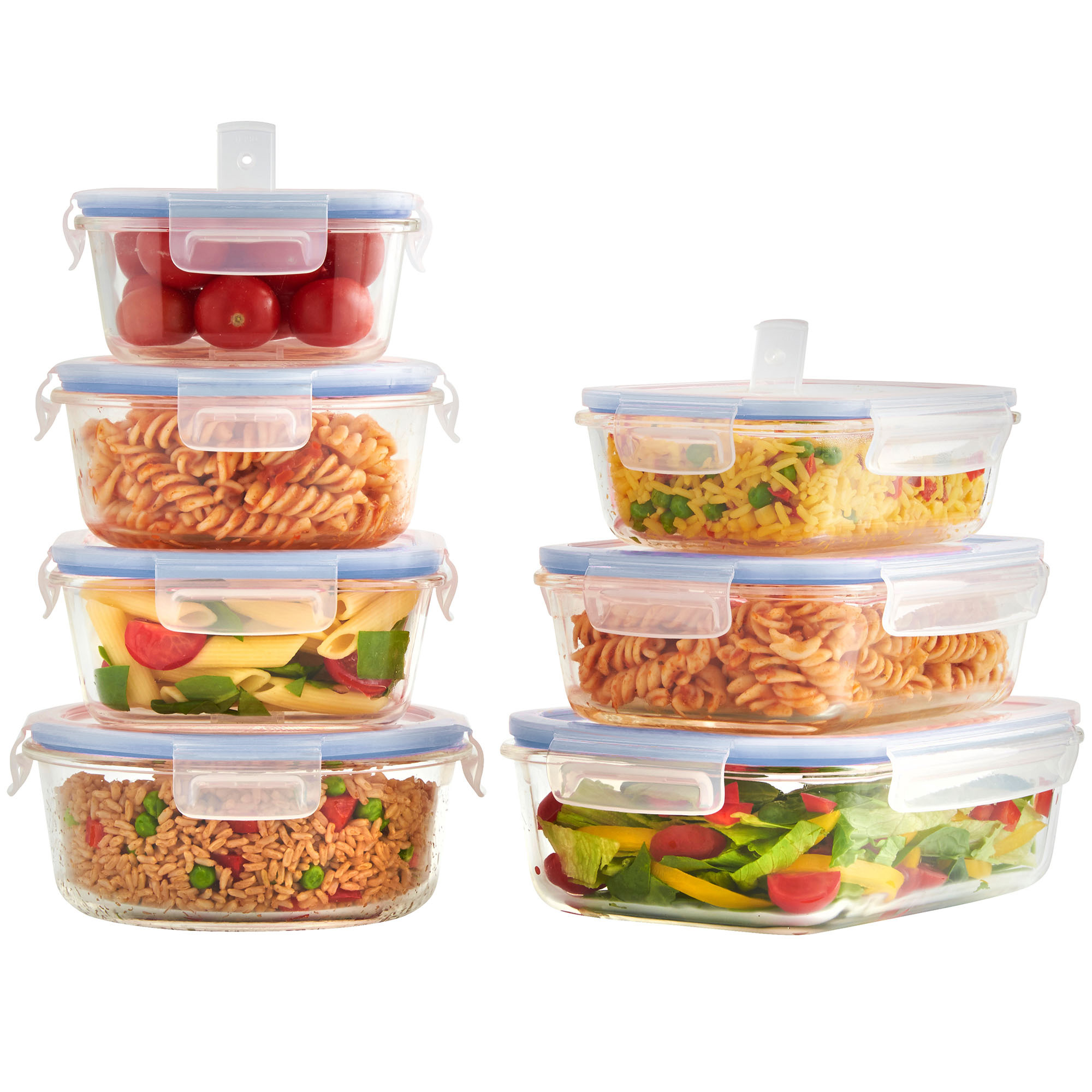 edb5b80dd Details about VonShef Food Container Set 7pc Oven Microwave Safe Glass  Storage Air Vent Lids