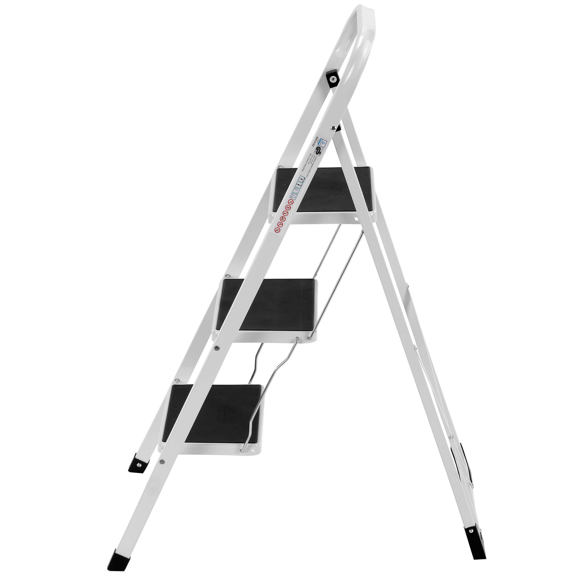 Vonhaus 3 Step Ladder Stool Heavy Duty Steel Folding
