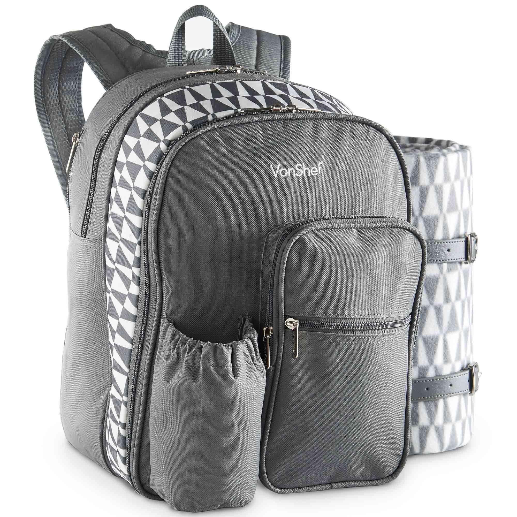 Vonshef 2 Person Picnic Backpack Bag Grey With Blanket