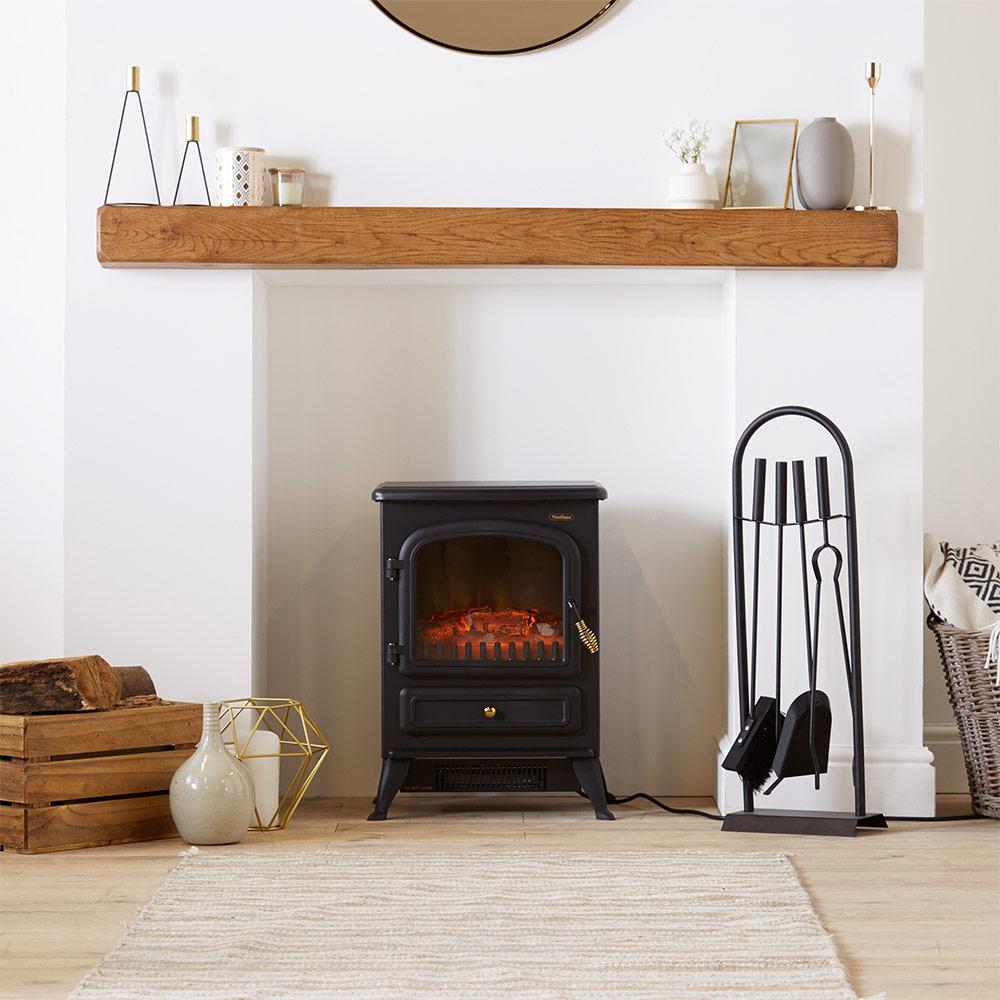 vonhaus 1850w small black stove heater