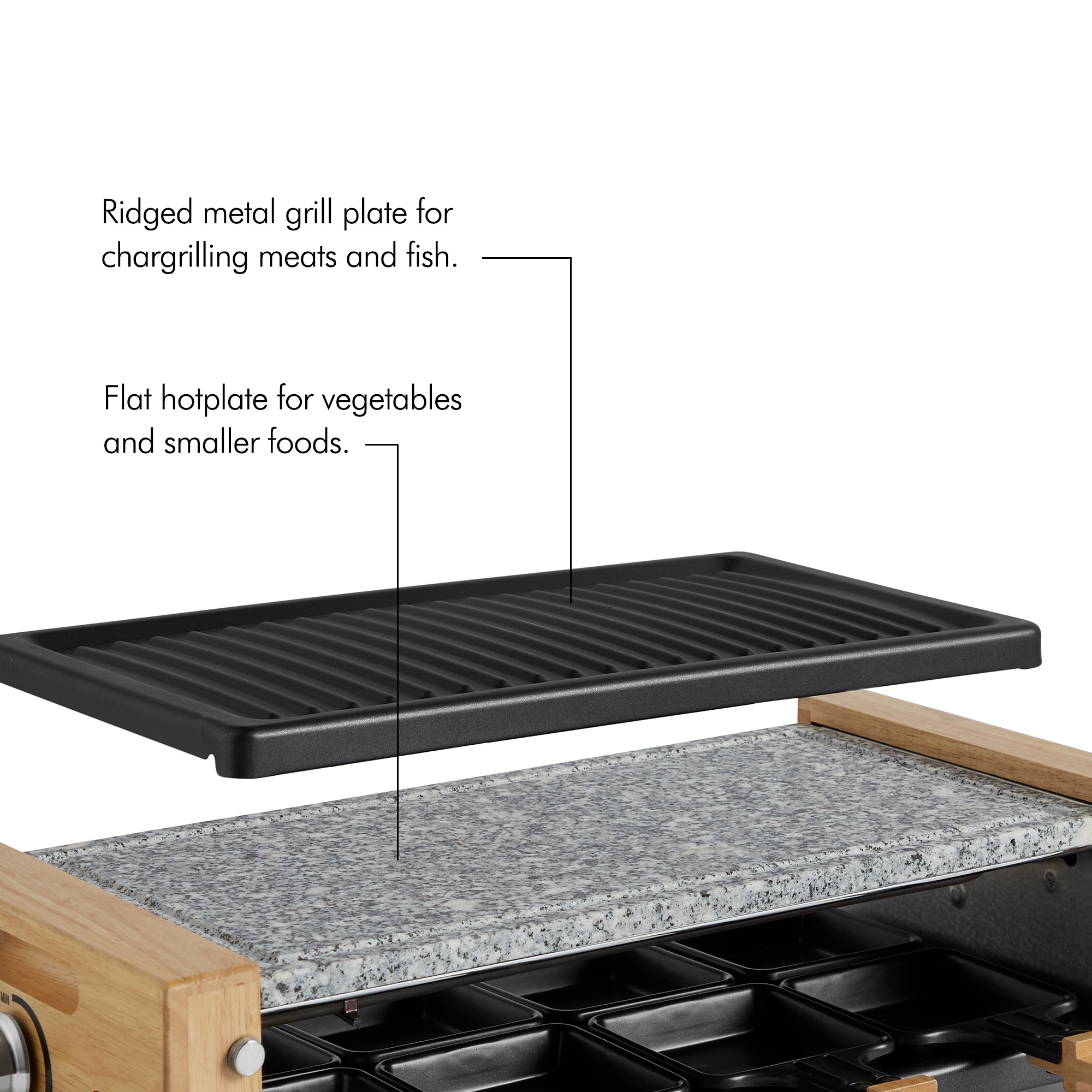 Vonshef Raclette Grill Maker Machine Natural Stone Hot