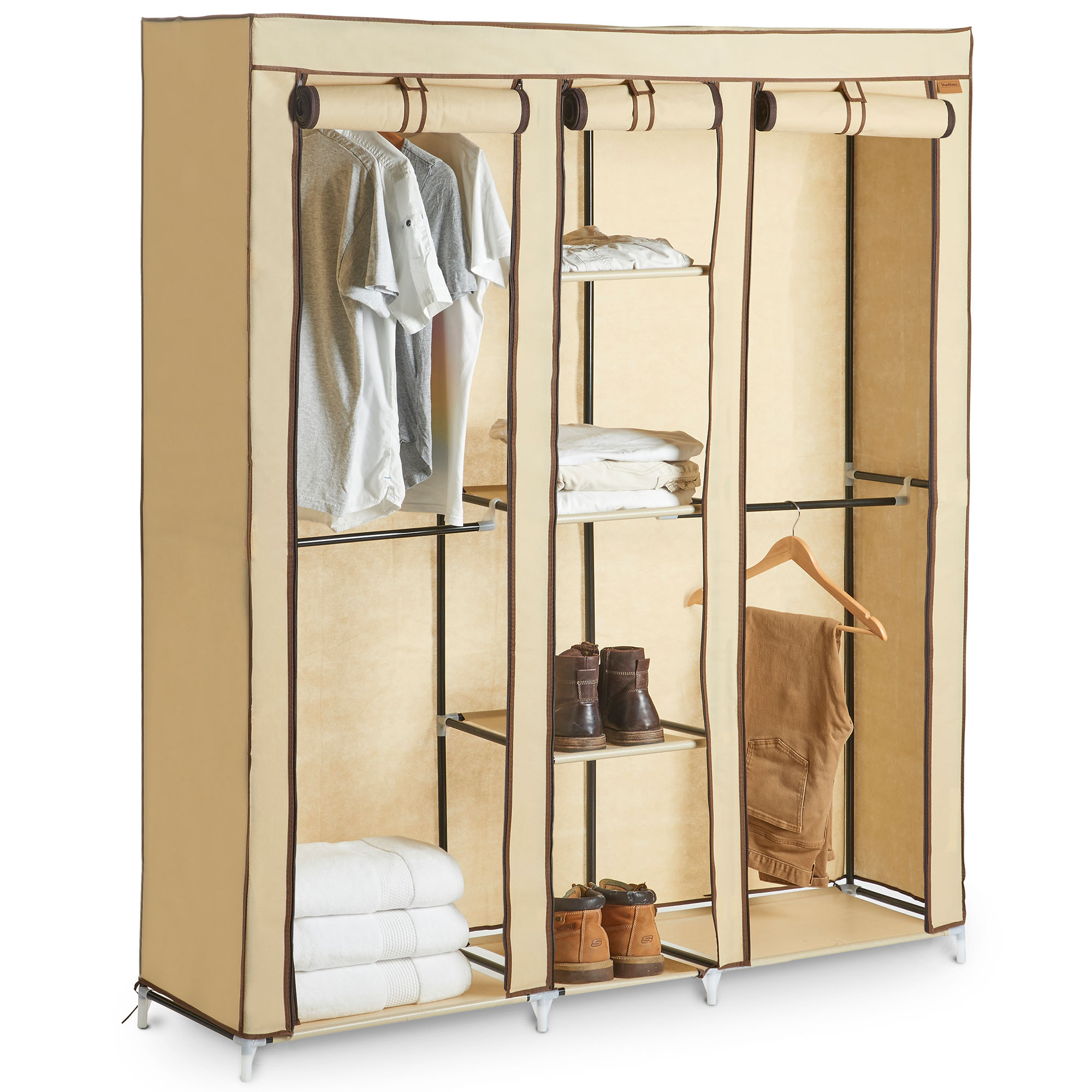 Sentinel Vonhaus Extra Large Triple Canvas Wardrobe Clothes Storage With Hanging Rail Shelves