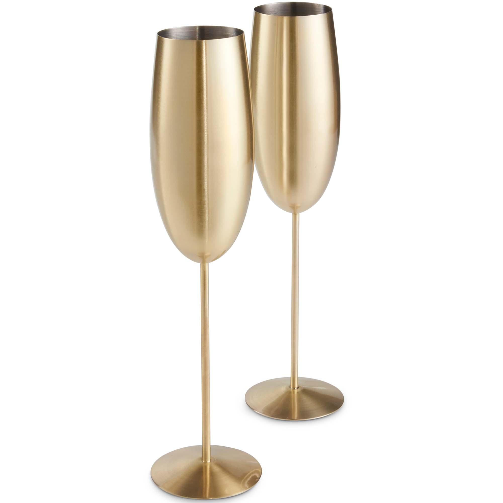 VonShef Champagne Flutes Glasses Brushed Gold Stainless ...