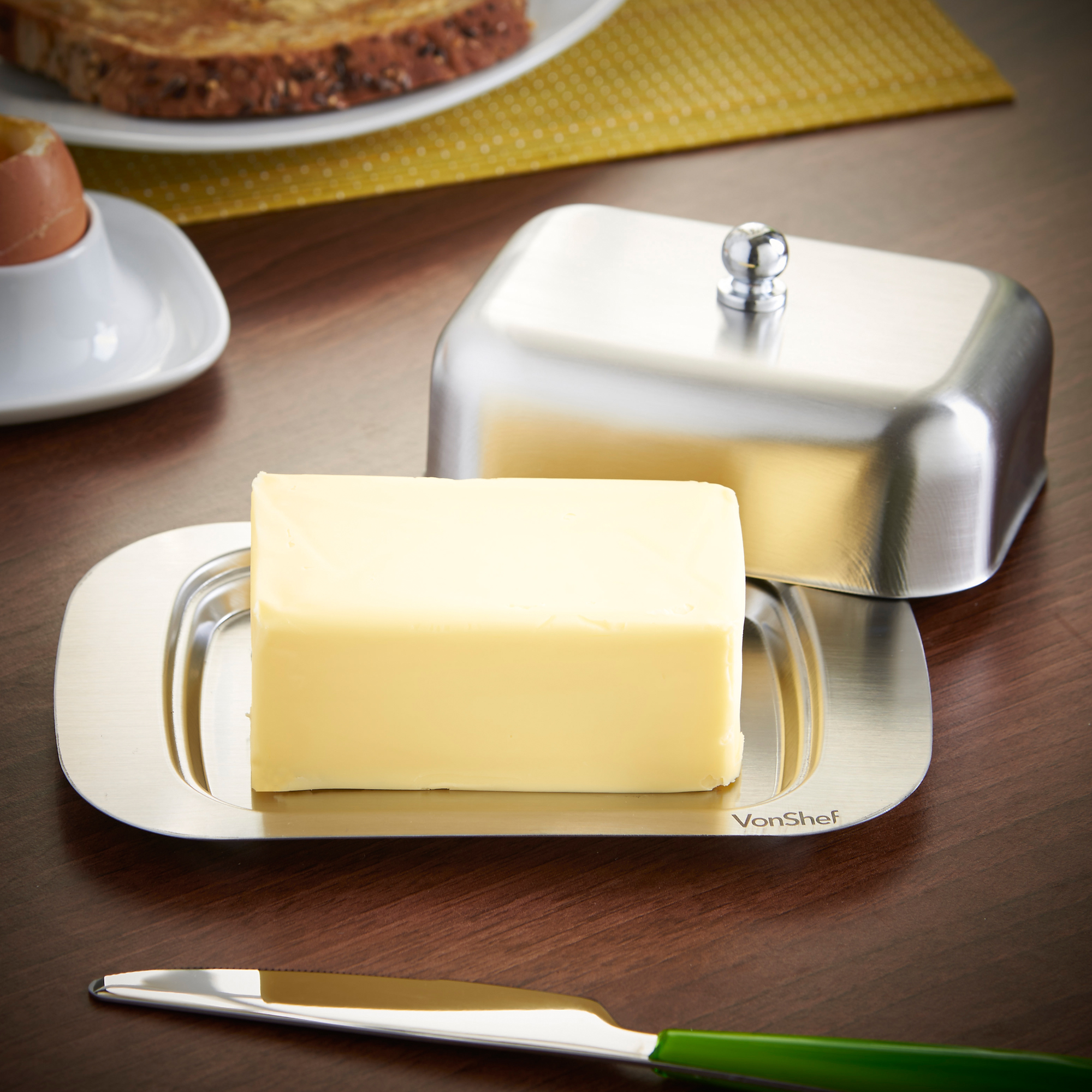 Vonshef Butter Dish Cover Stainless Steel Lid Kitchen