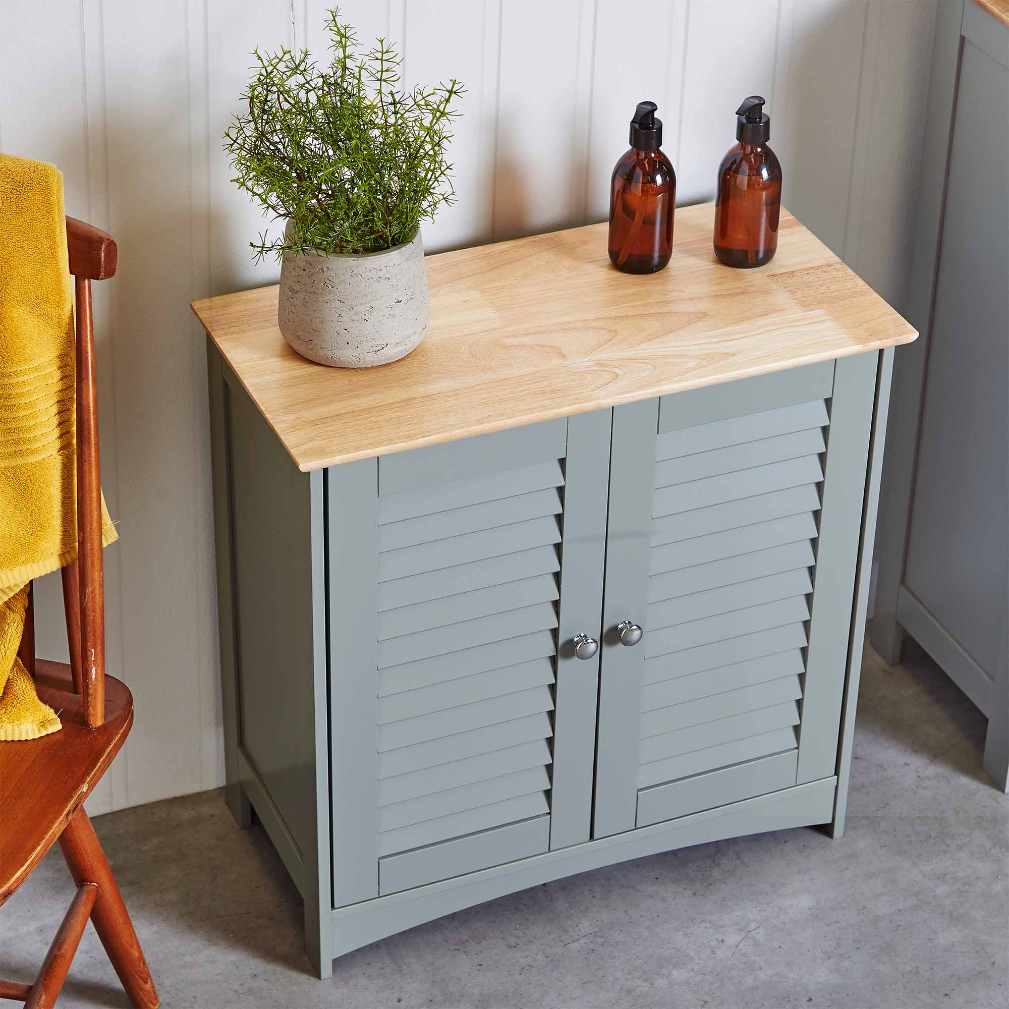 VonHaus Towel Cabinet Floor Standing Unit 2 Shelves And