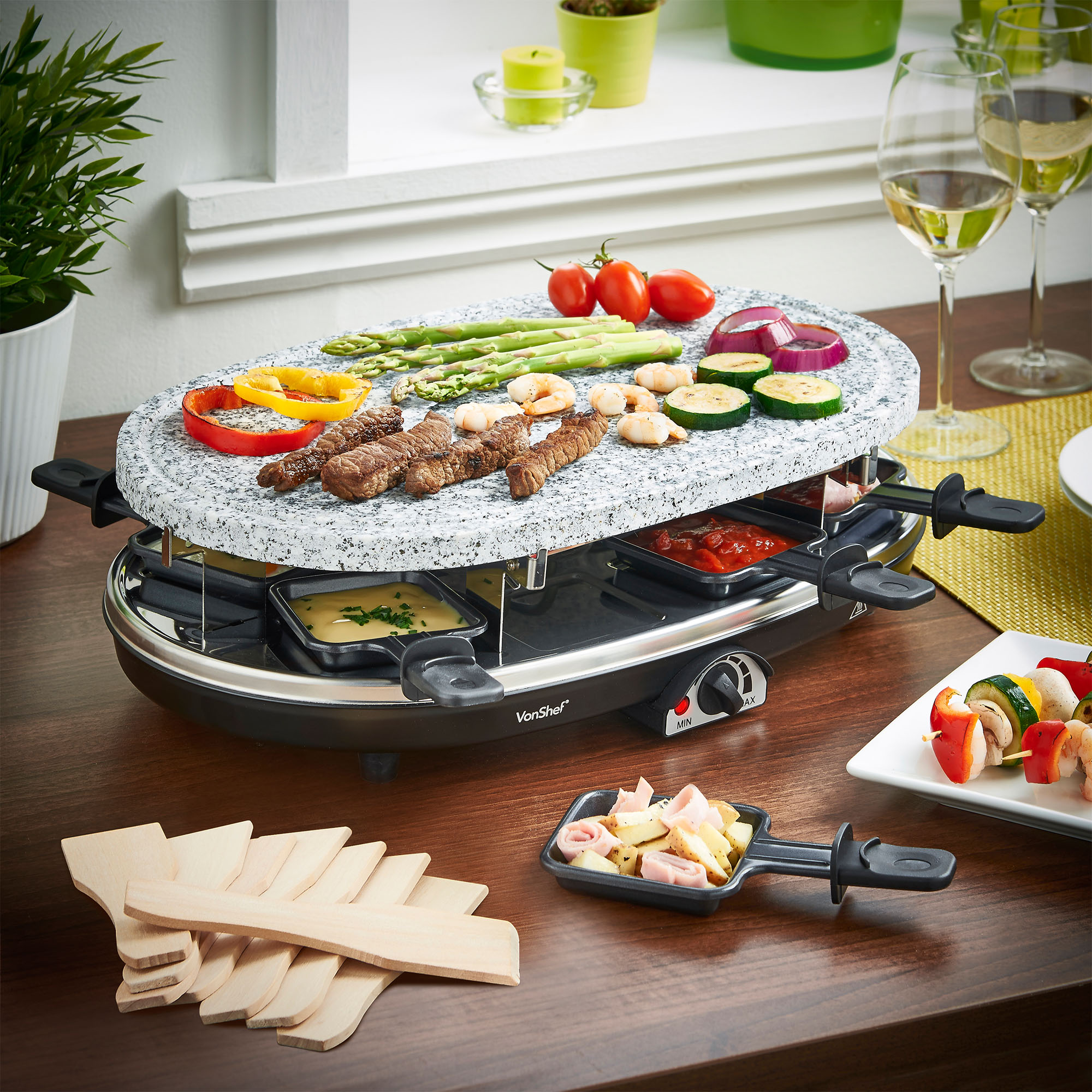 Vonshef 8 Person Natural Stone Plate Raclette Grill Table