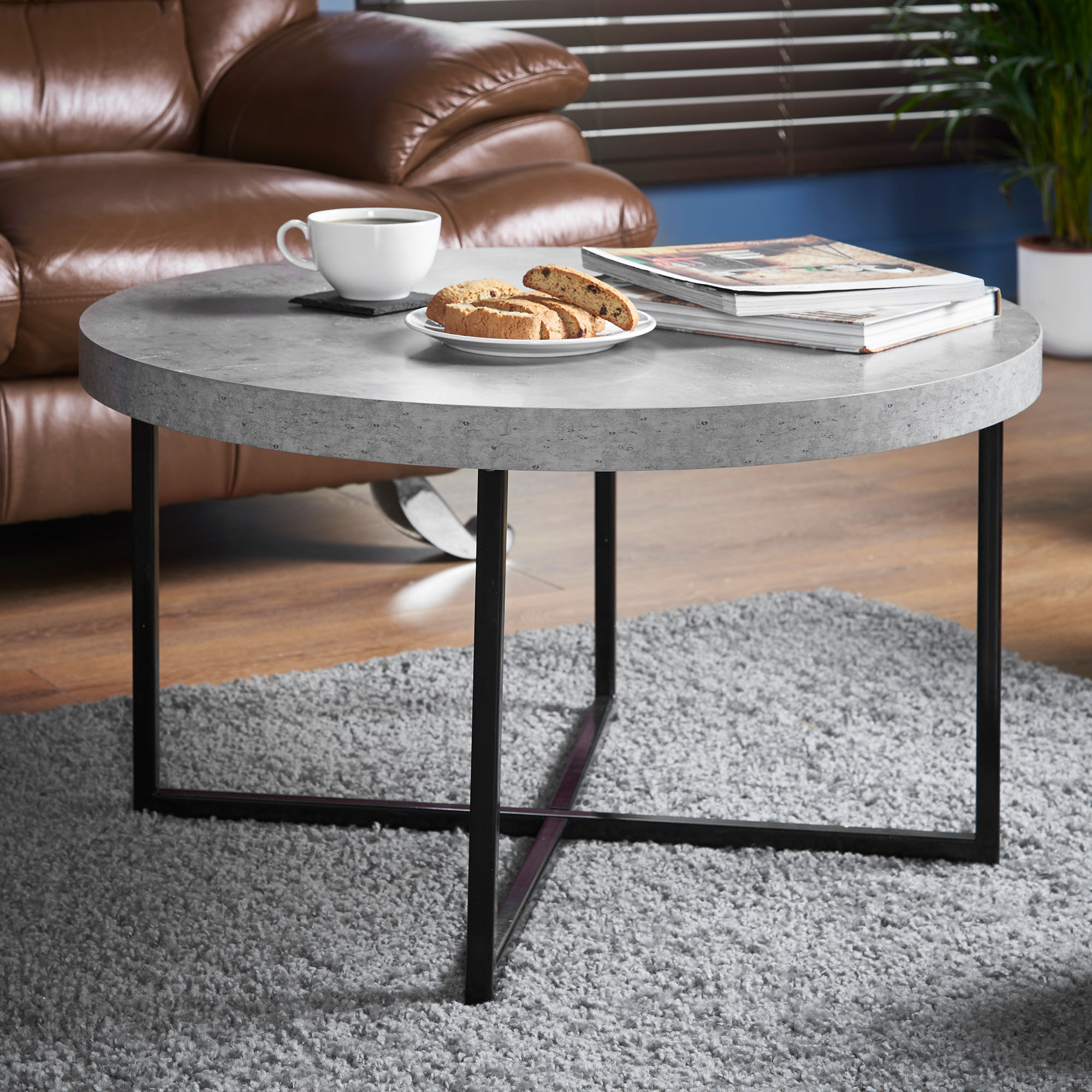 Sentinel Vonhaus Concrete Look Coffee Table Contemporary Style With Lightweight Metal Effect Legs