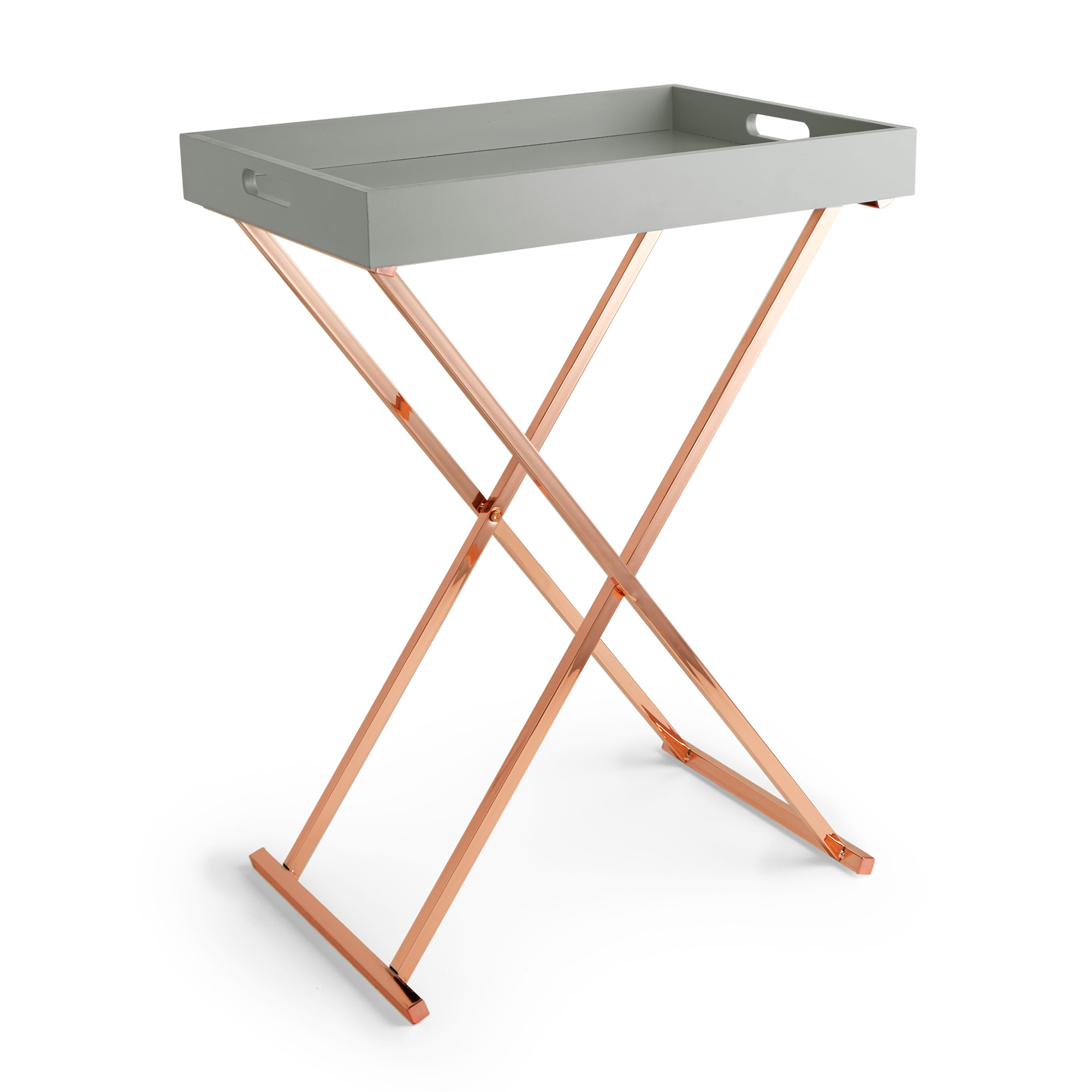 - Beautify Butlers Tray Table Rose Gold & Grey Folding Side Table