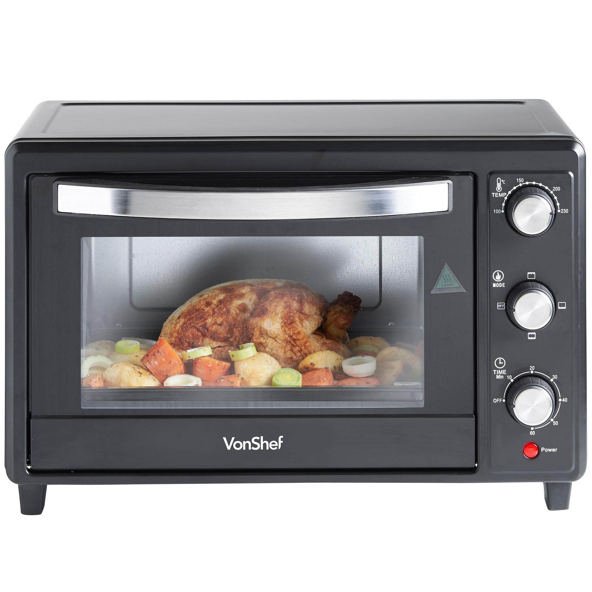 Mini Oven: VonShef Mini Oven 30 Litre Black Table Top Grill Baking