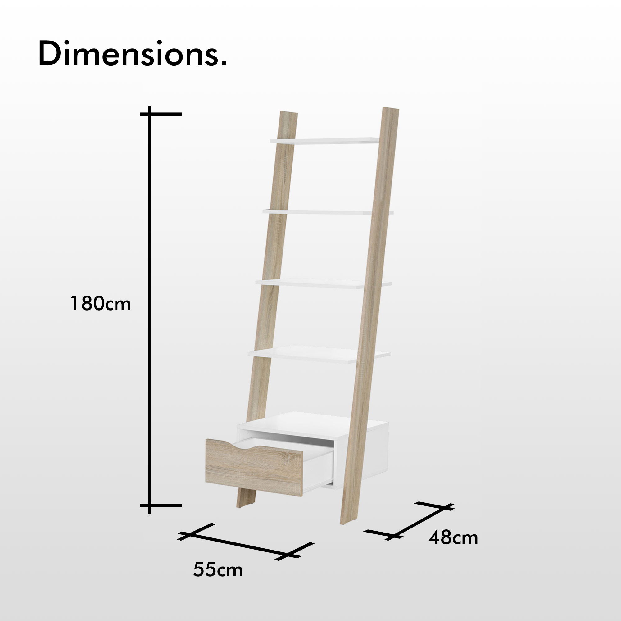separation shoes a8542 7b4d3 Details about VonHaus Ladder Bookcase Scandinavian Nordic White and Light  Oak Effect Bookshelf