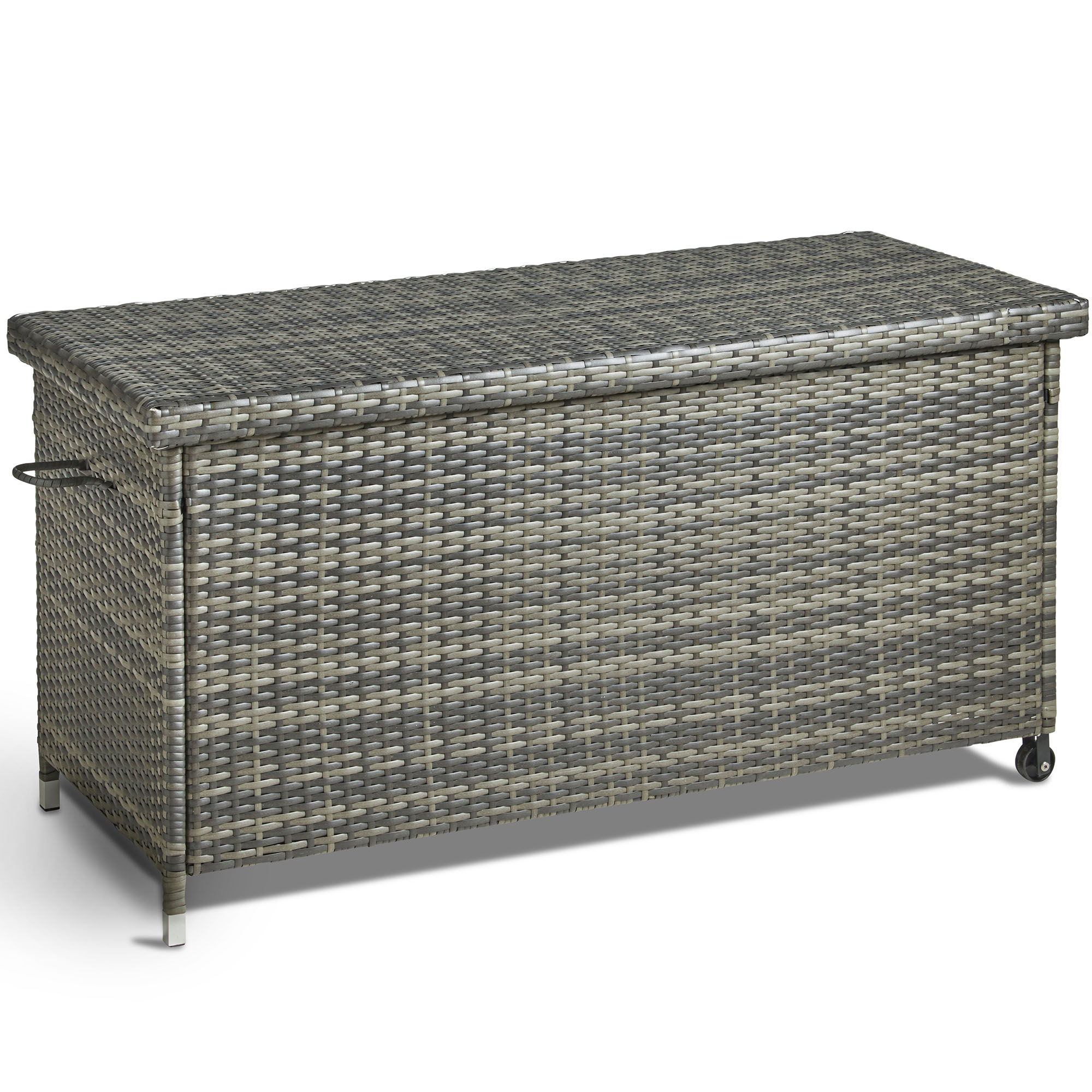Sentinel Vonhaus Cushion Storage Box Pe Rattan Weather Resistant And Easy Open Ottoman For Outdoors