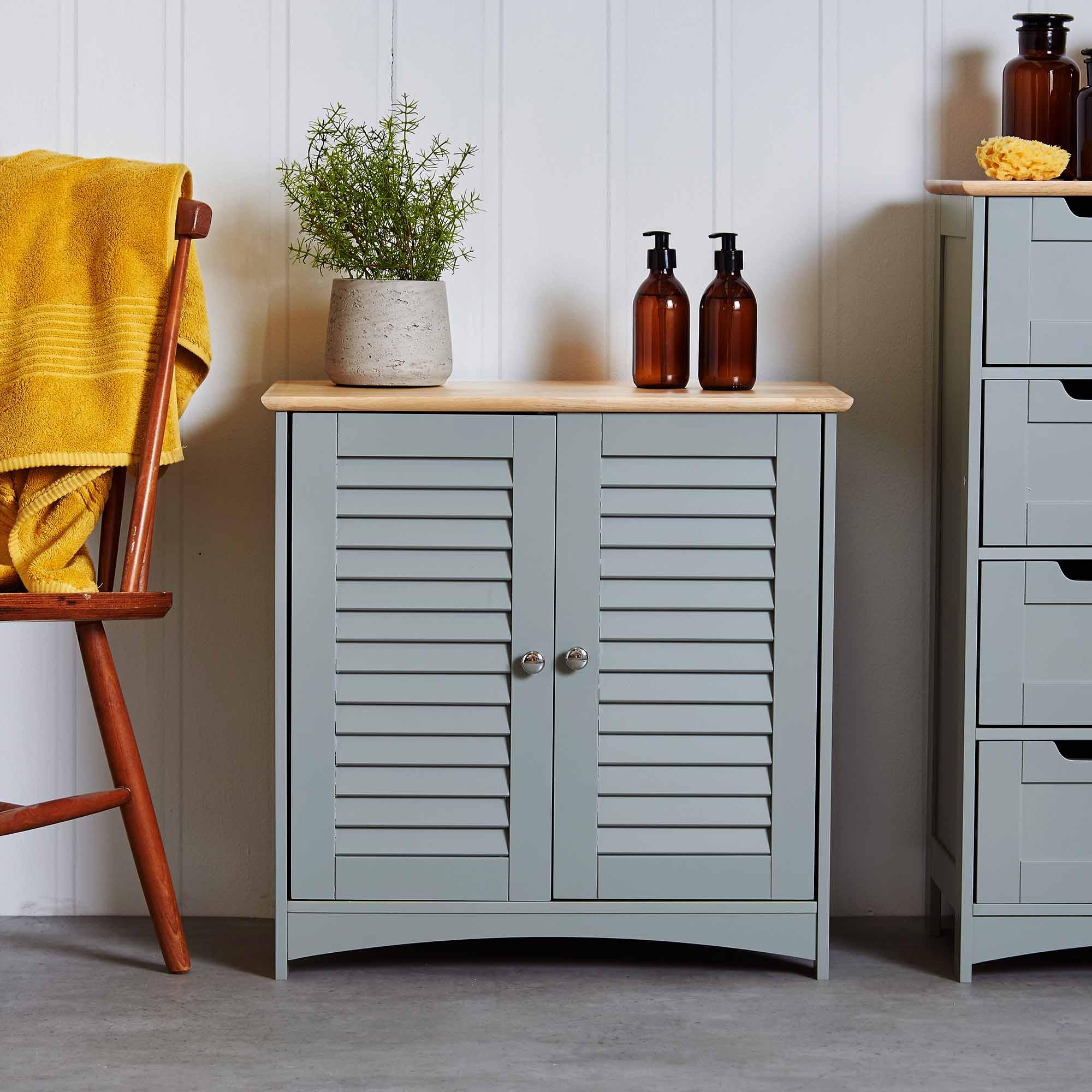 VonHaus Towel Cabinet Floor Standing Unit 2 Shelves and ...