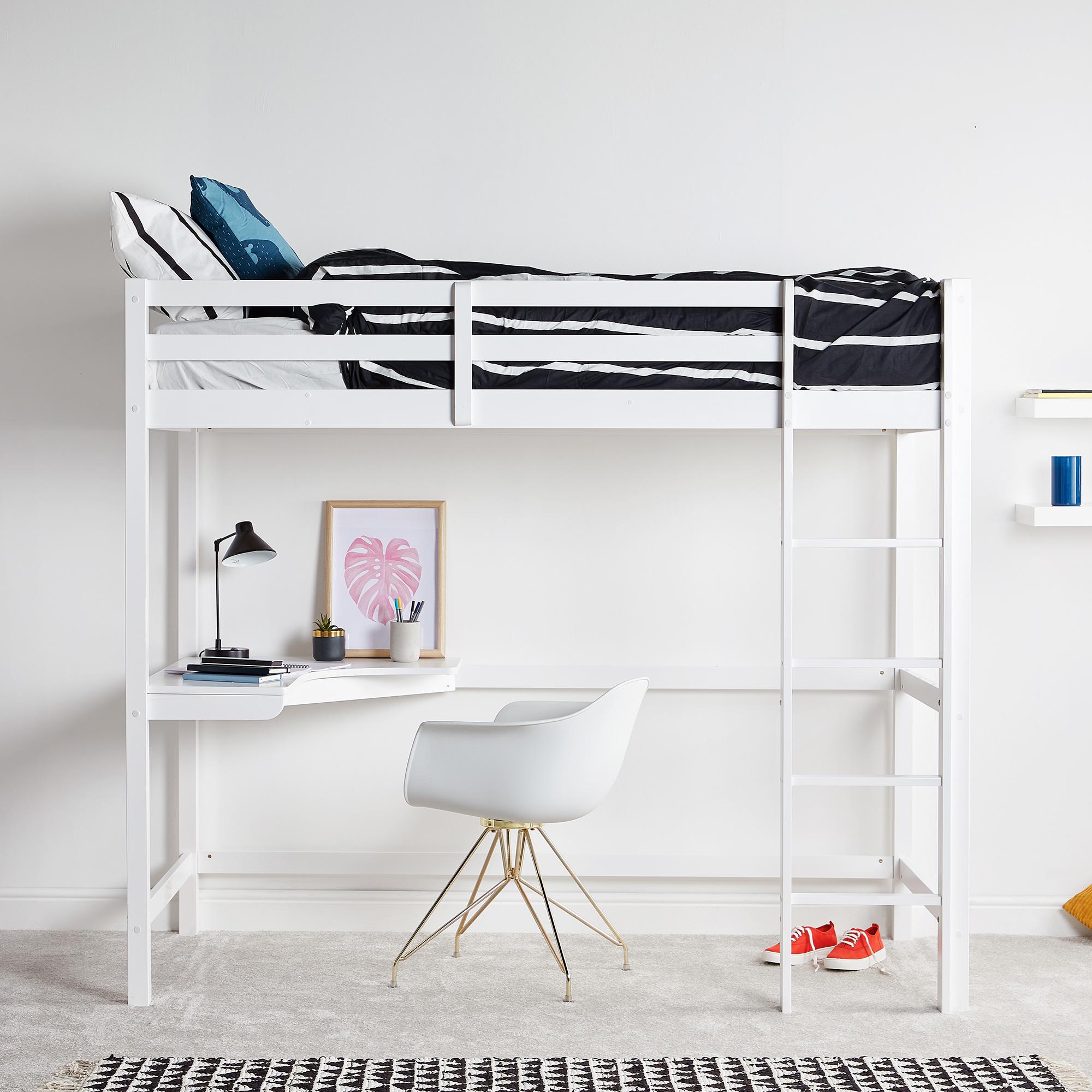 Vonhaus Pine Study Bunk Bed Wooden High Sleeper With Desk Student