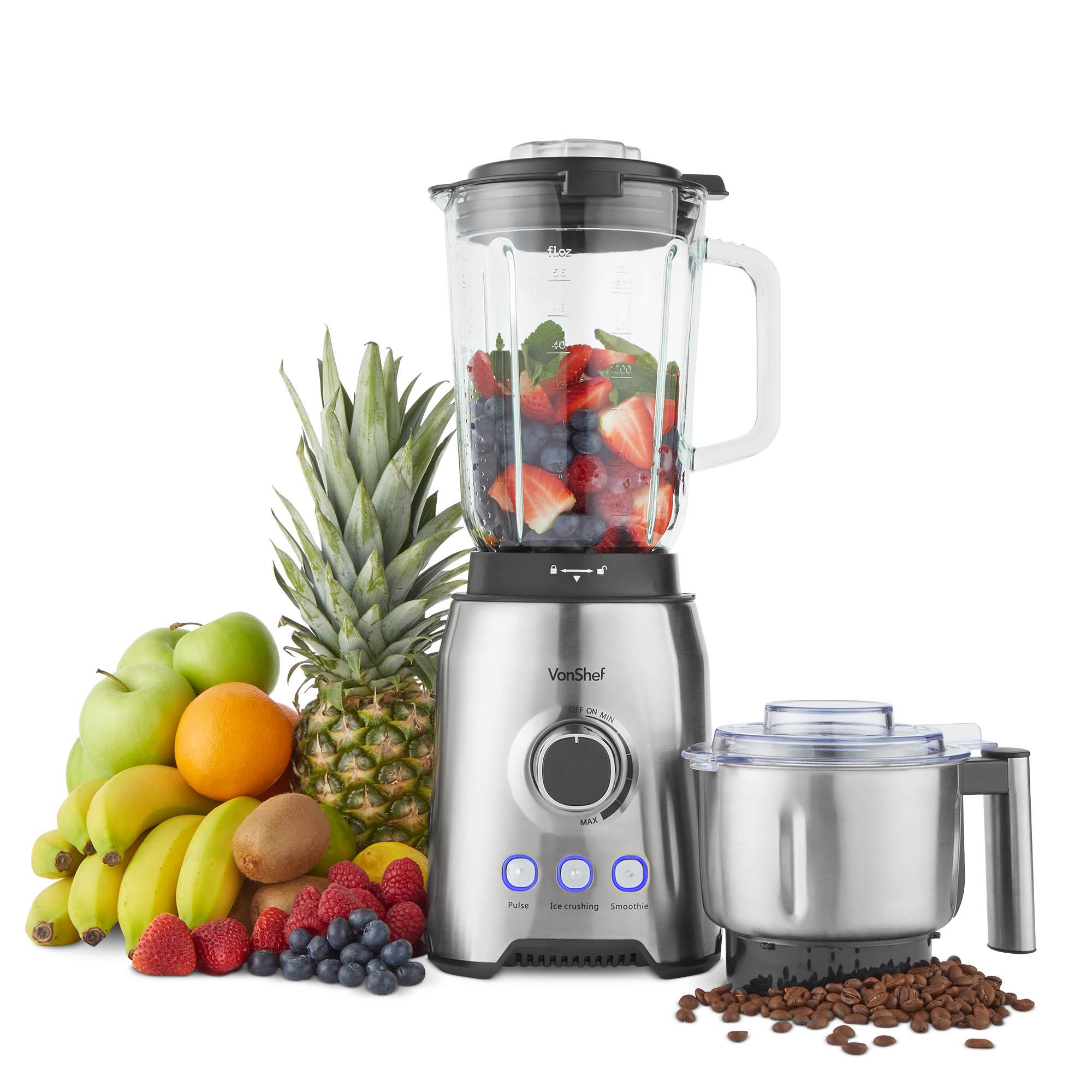 Details about VonShef Blender Glass Jar Smoothie Maker Juicer Grinder Ice Crusher Machine 1000