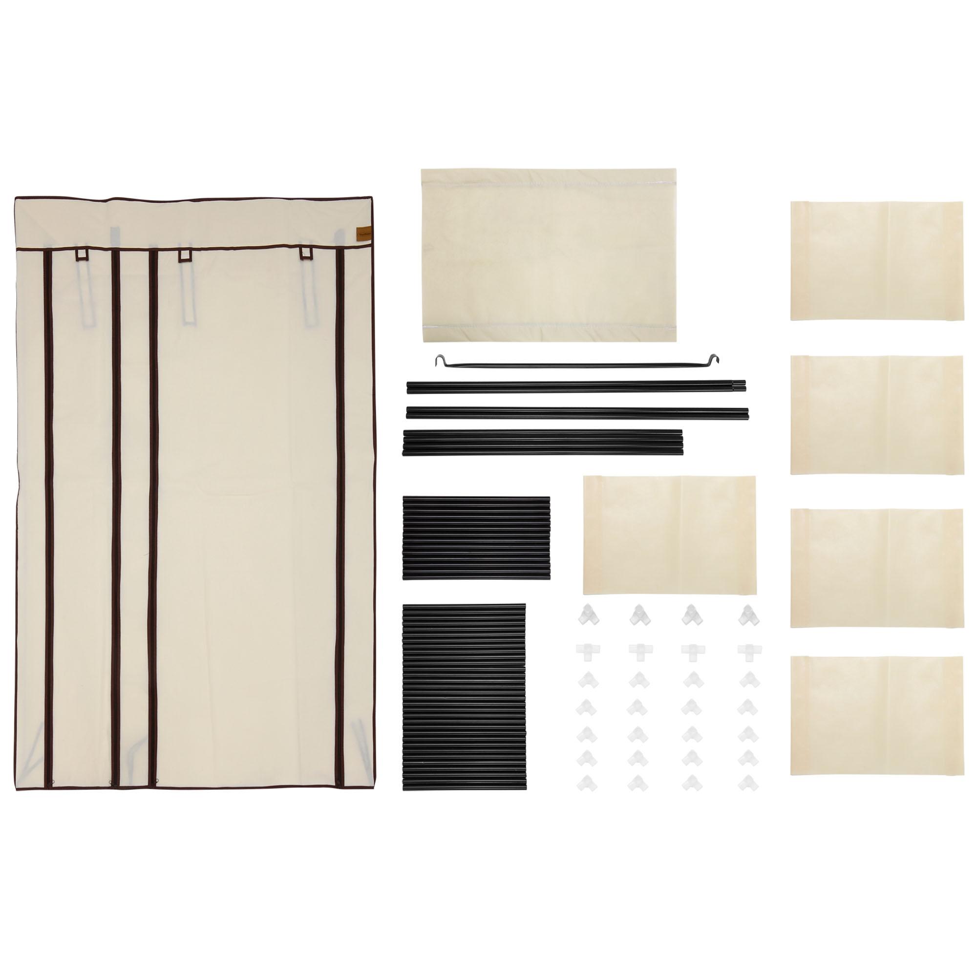 Canvas Storage Boxes For Wardrobes: VonHaus Double Canvas Effect Wardrobe Clothes Hanging Rail