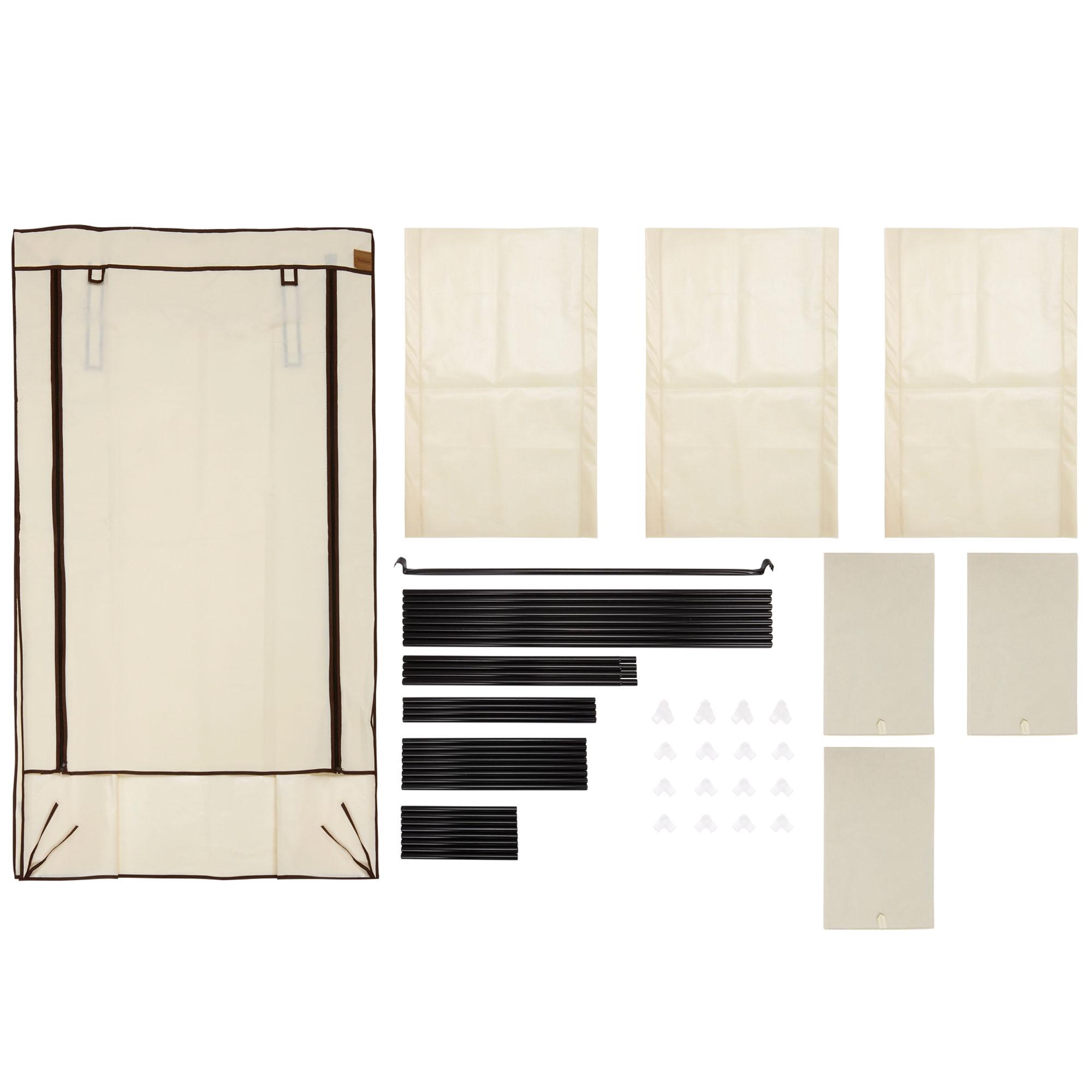 Canvas Storage Boxes For Wardrobes: VonHaus Beige Canvas Effect Wardrobe Strong Clothes Rail
