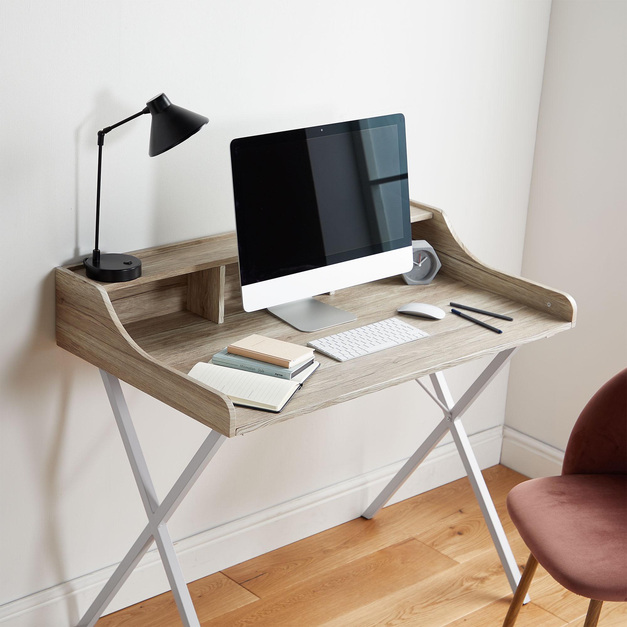 Home Office Furniture Uk Desk Set 18: VonHaus Study Desk White Modern Style Workstation Home