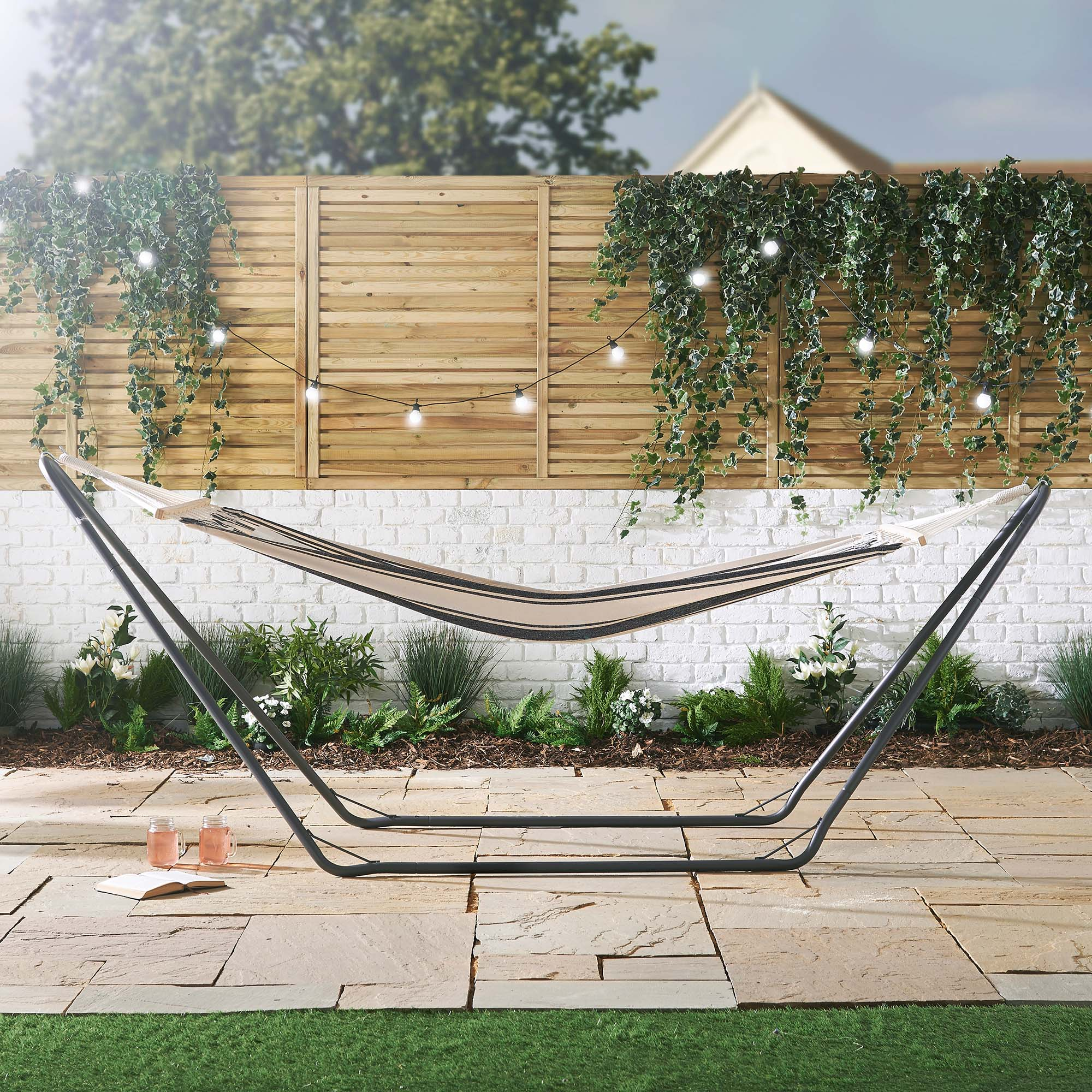 for free frame sentinel and luxury patio itm standing garden or with swing seat metal outdoor vonhaus swinging hammock