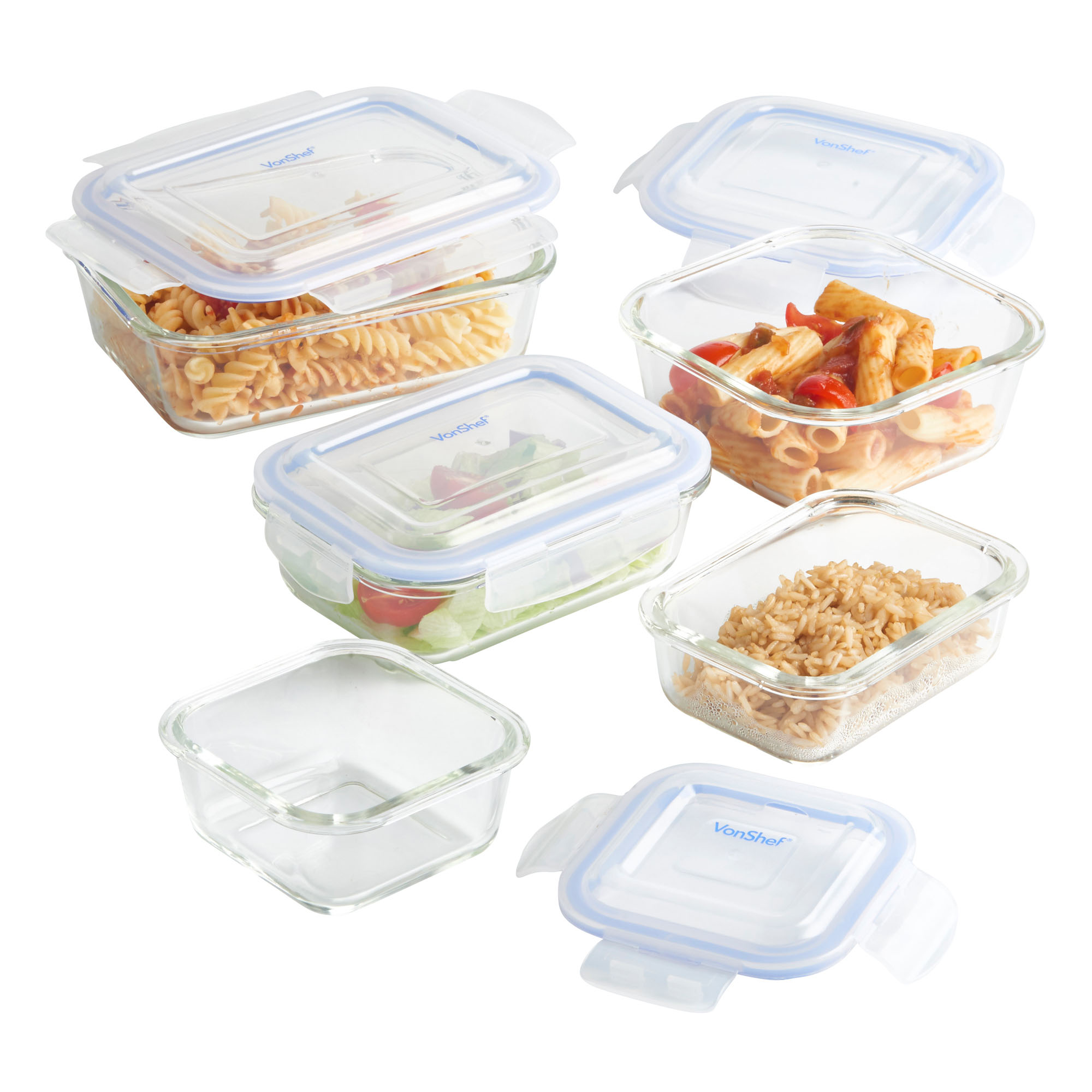 Vonshef  Piece Glass Container Food And Microwave
