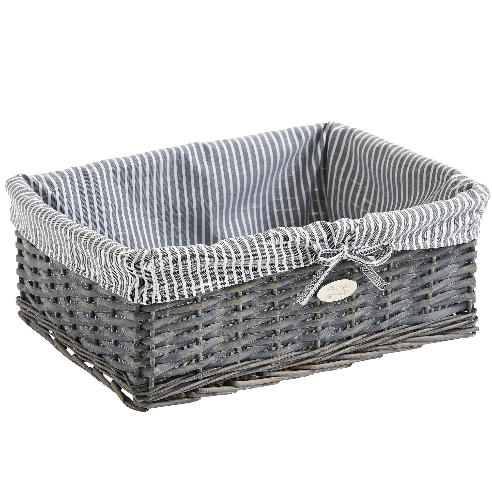 Superbe Sentinel VonHaus Set Of 3 Grey Wicker Storage Baskets