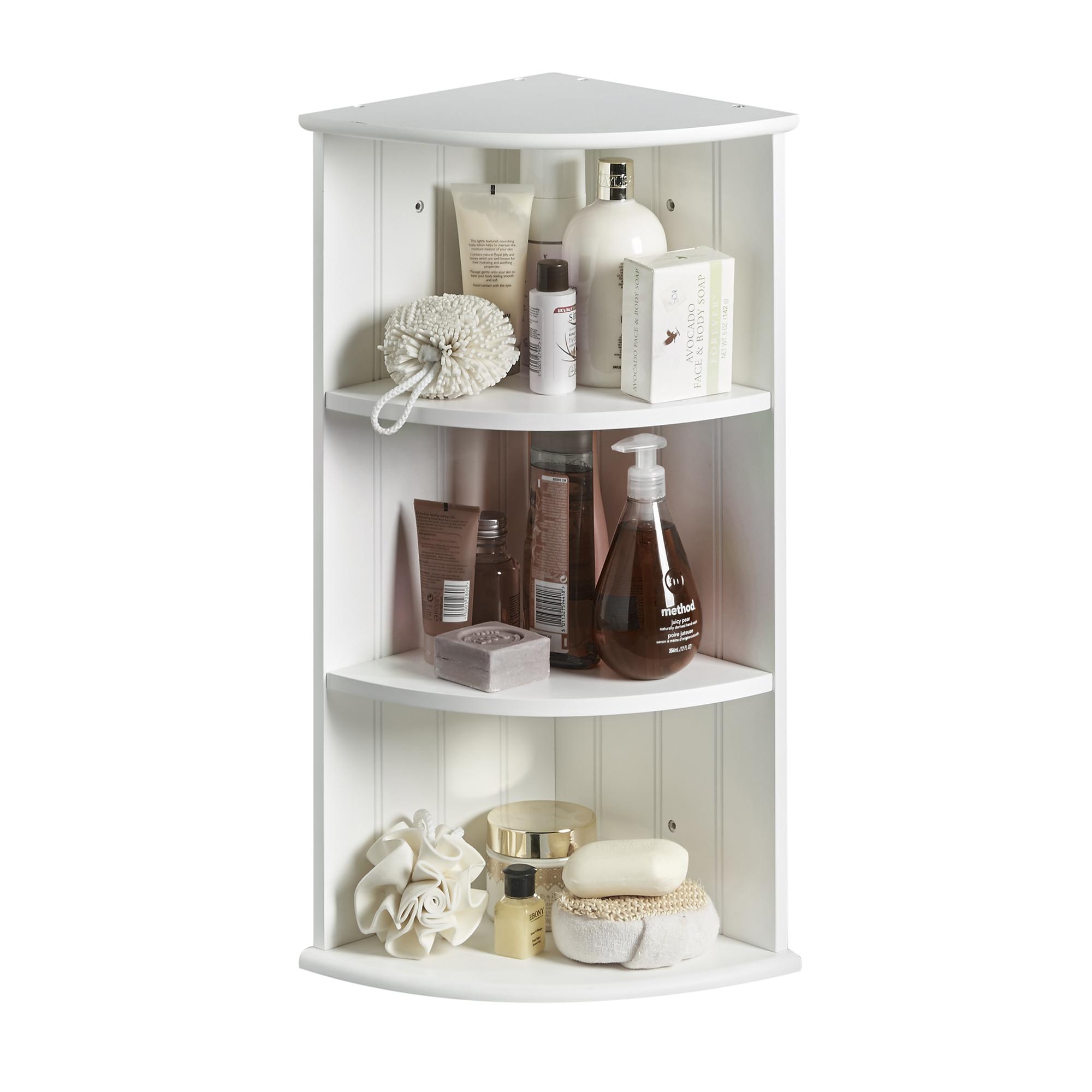 VonHaus Colonial White Three Shelf Bathroom Corner Cabinet ...