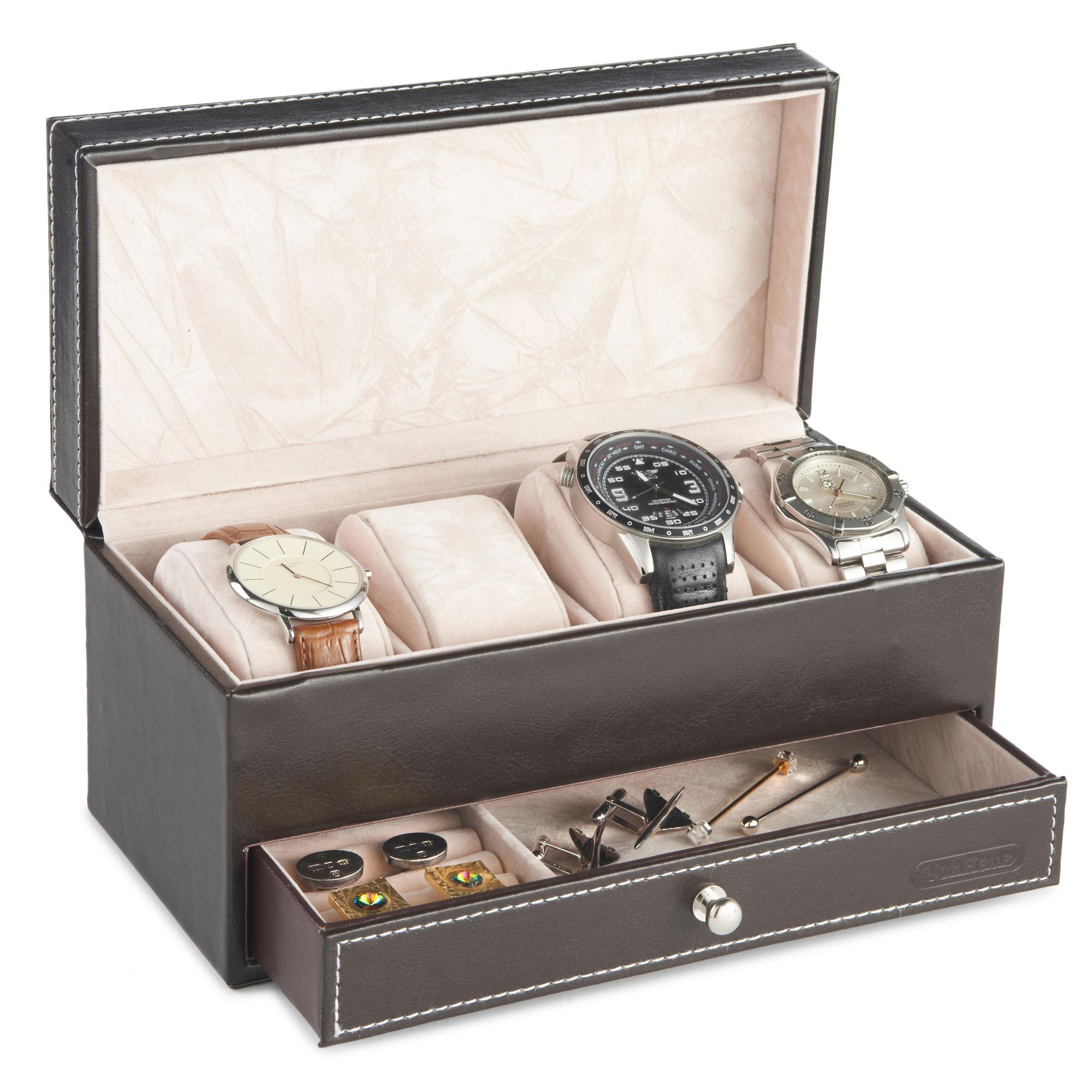 Vonhaus 4 Watch And Cufflink Display Box With Drawer Brown Faux