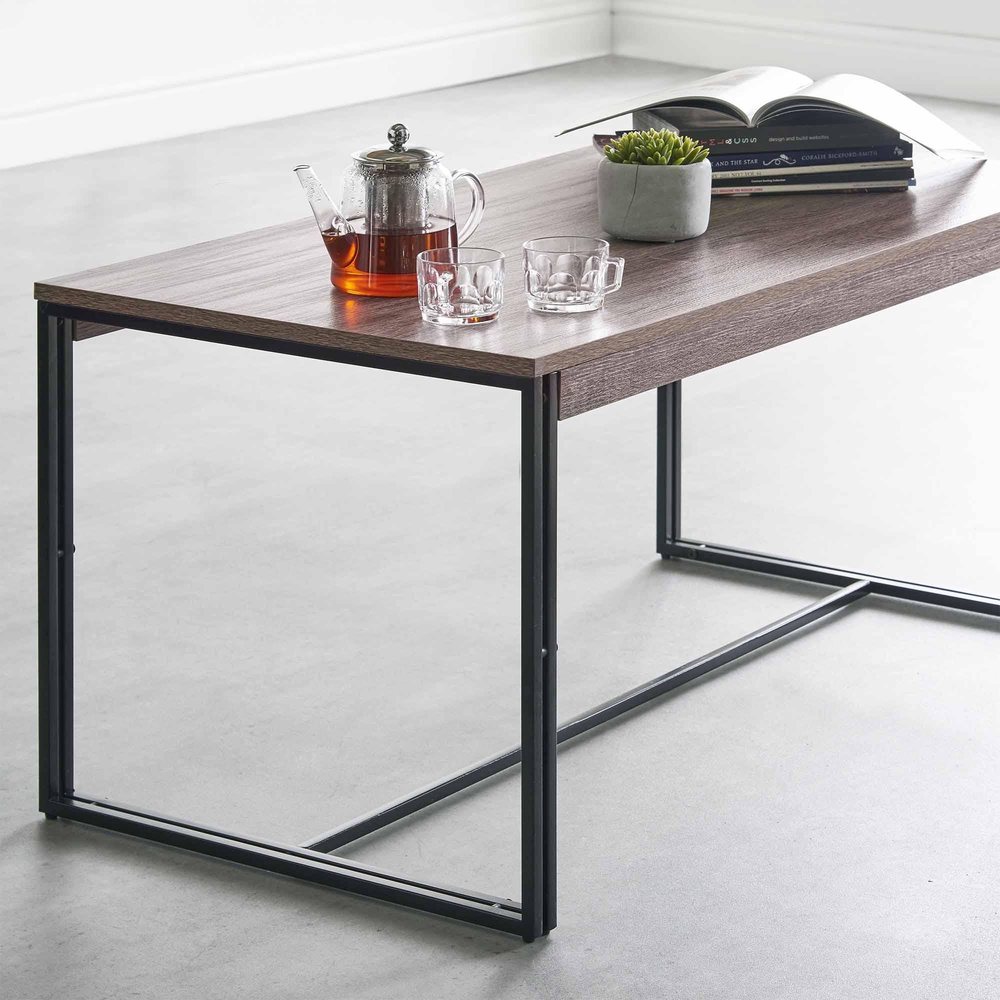 Stylish Designer Coffee Table Industrial Antiques Steam: VonHaus Rustic Coffee Table Modern Industrial Urban Design