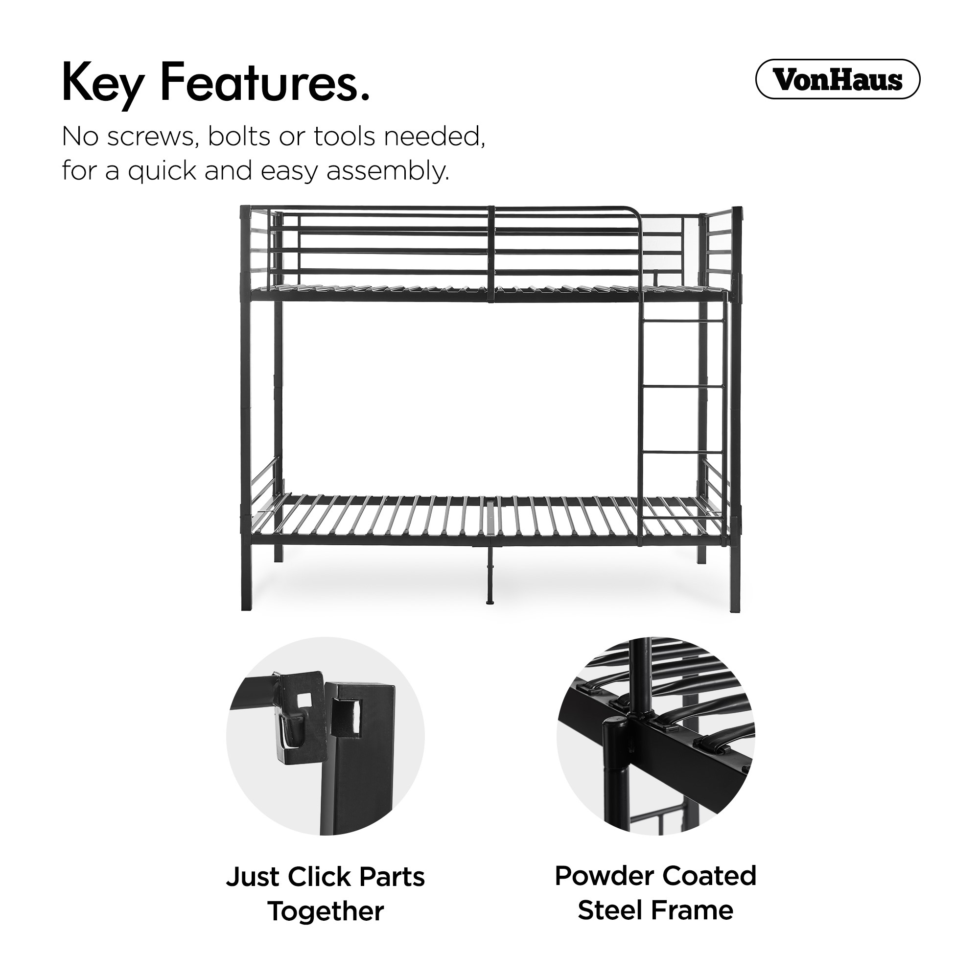 Vonhaus Bunk Bed Frame No Screws Bolts Easy Assembly Twin Beds