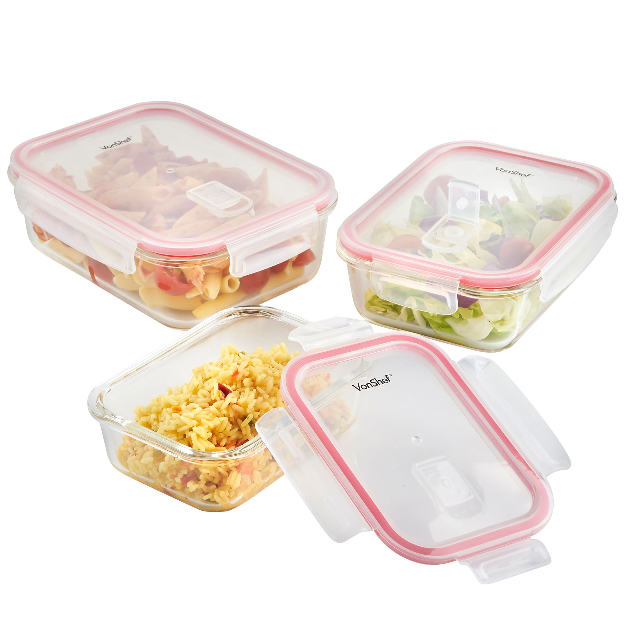 Vonshef Food Container 3x Rectangular Microwave Oven Safe