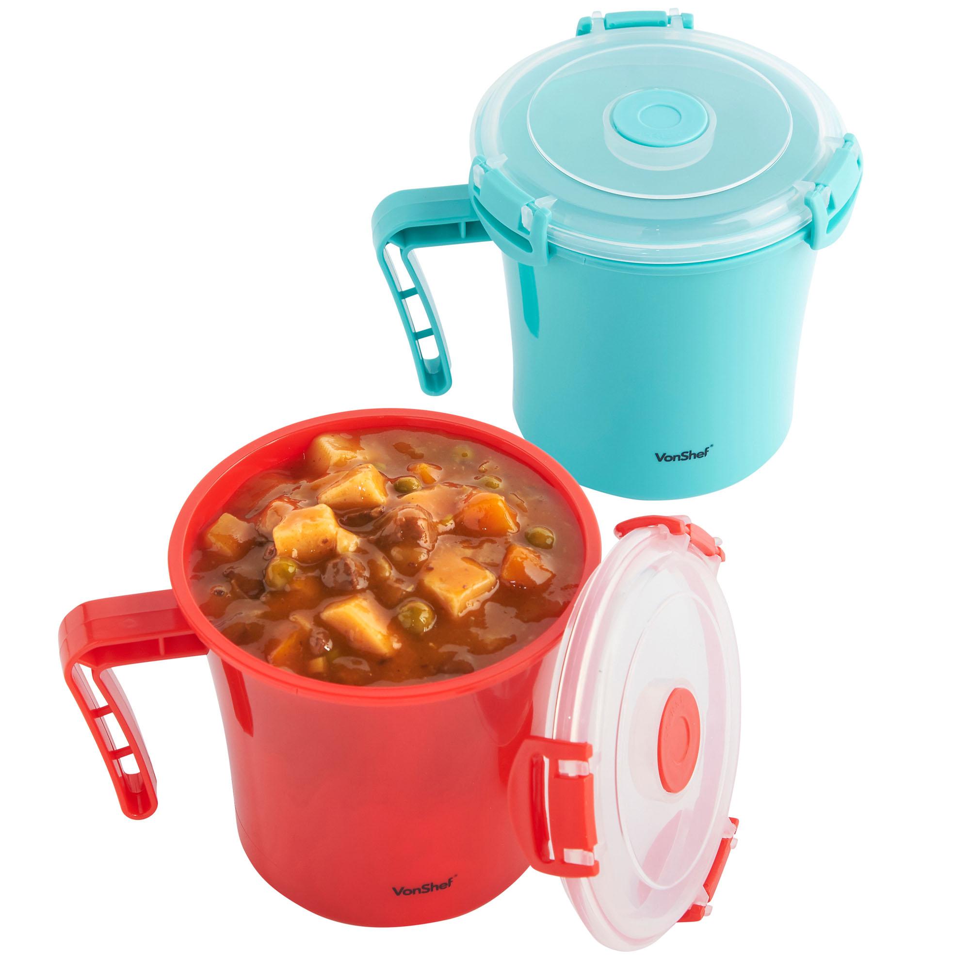 vonshef microwavable soup mug microwave noodle bowl lunch container set of 4 ebay. Black Bedroom Furniture Sets. Home Design Ideas