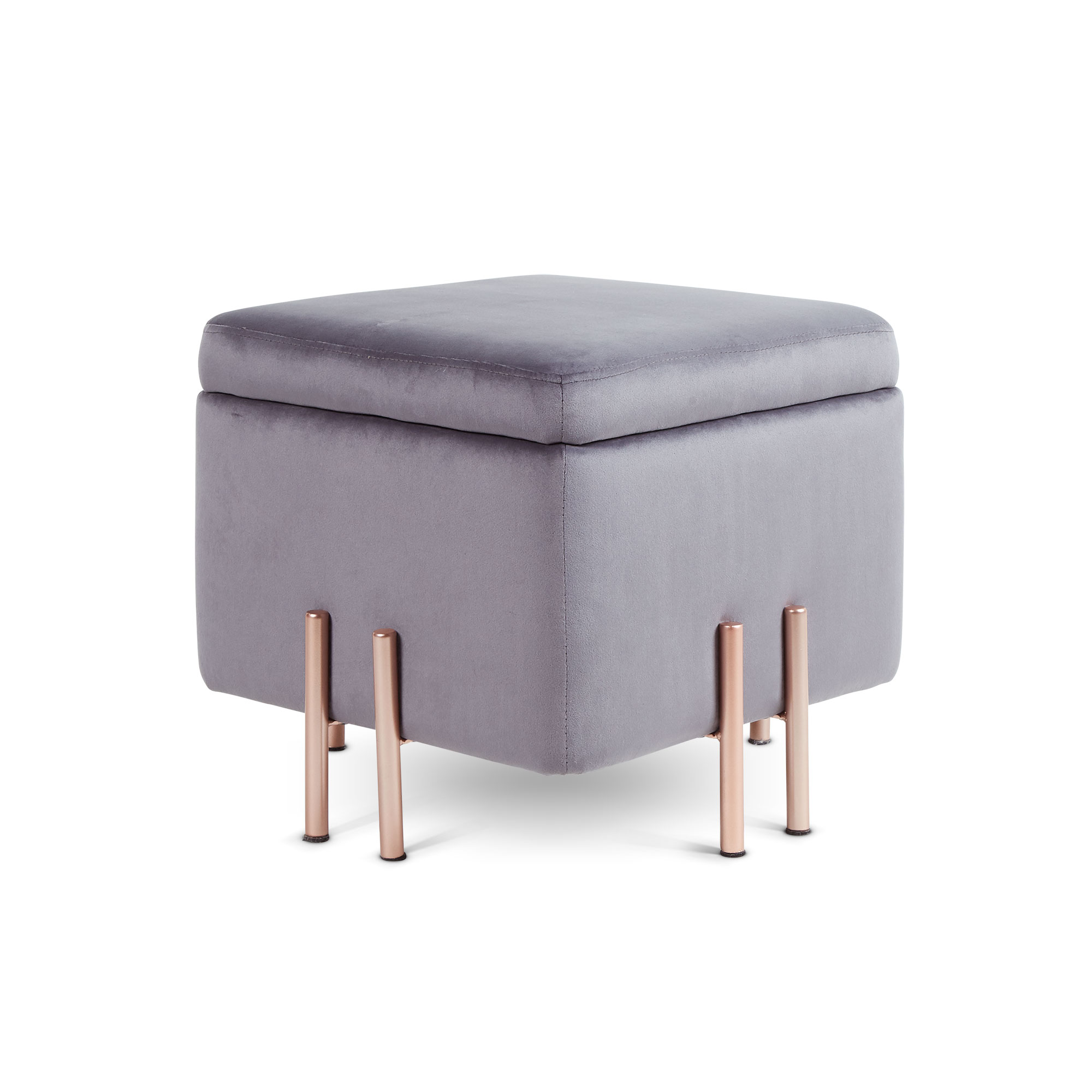 Pleasing Details About Beautify Grey Velvet Square Storage Stool Ottoman With Rose Gold Legs Gmtry Best Dining Table And Chair Ideas Images Gmtryco