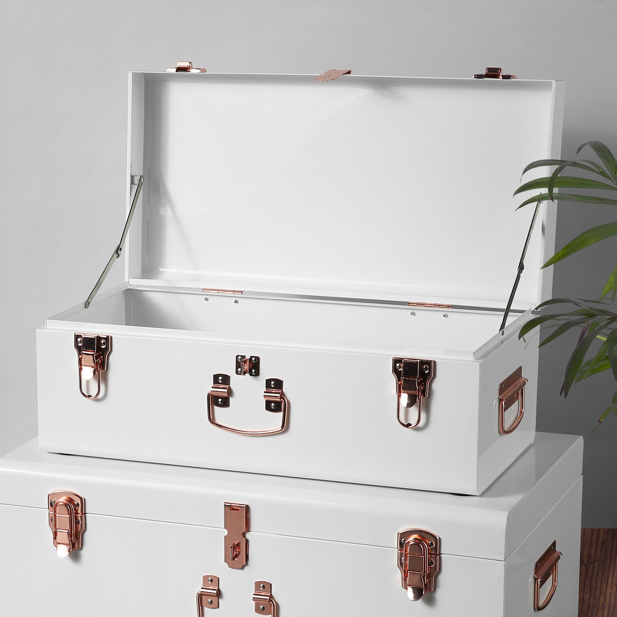 Sentinel Beautify Vintage Style Steel Storage Box Chest Trunk Set Of 2    Cream U0026 Rose Gold
