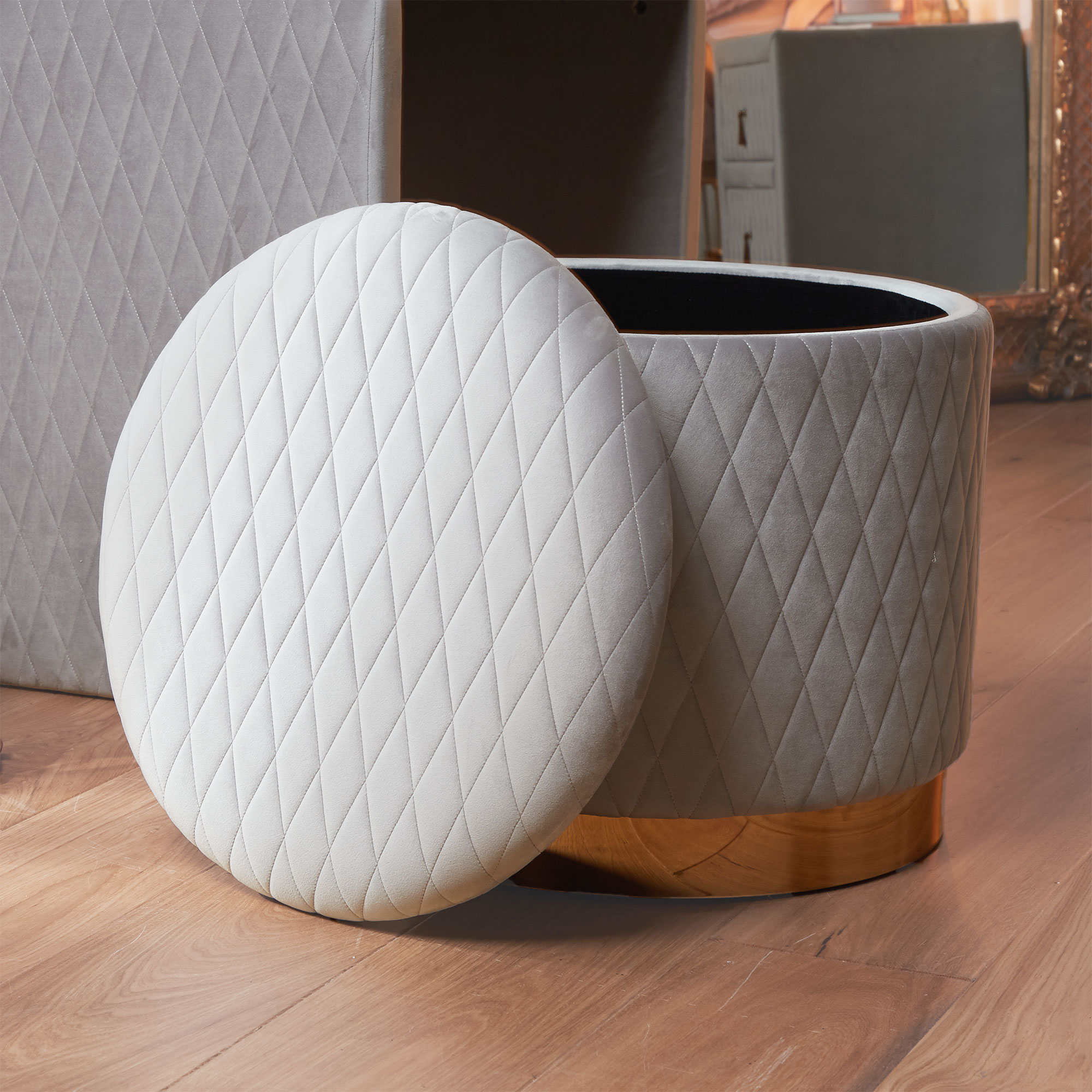 Beautify Quilted Storage Stool Grey Velvet Round Ottoman