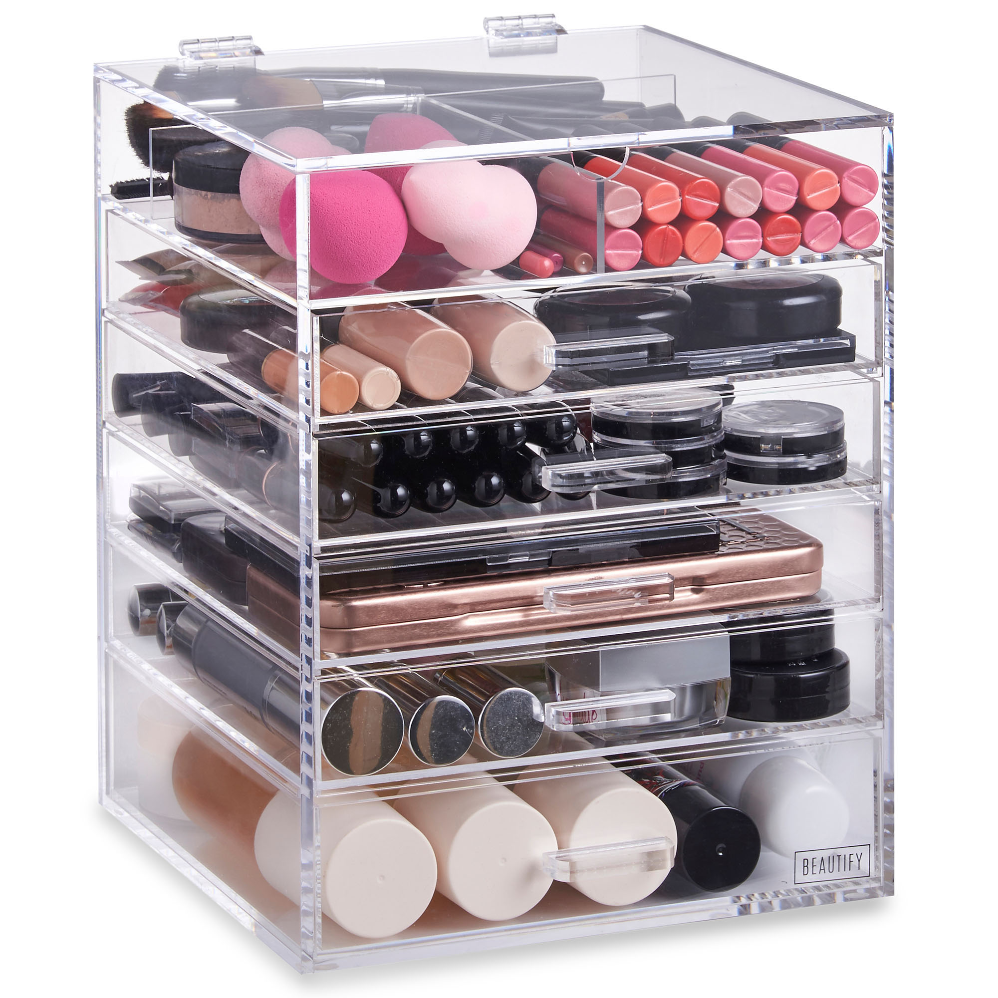 beautify acrylic makeup organiser 6 tier clear cosmetic. Black Bedroom Furniture Sets. Home Design Ideas