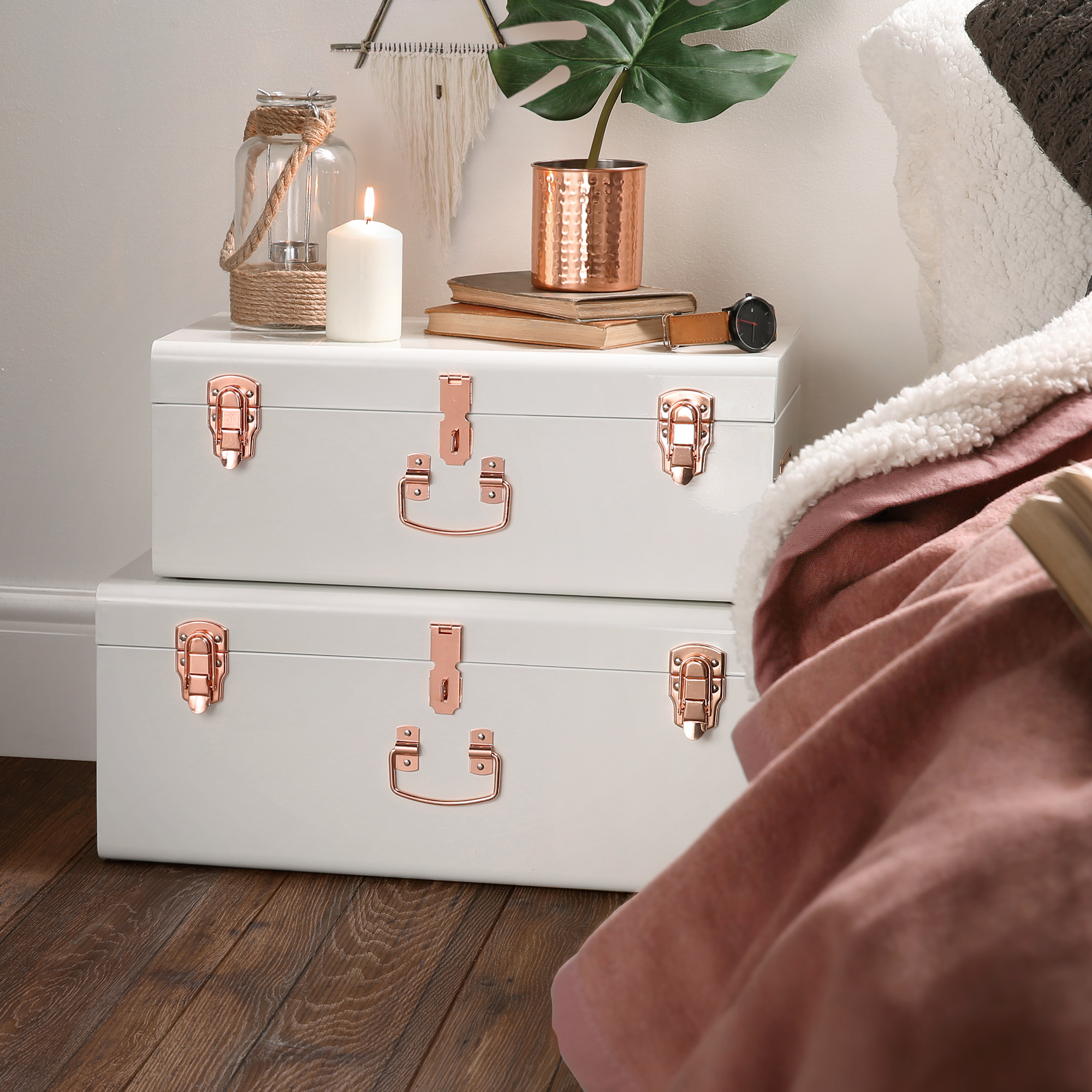 Sentinel Beautify Vintage Style Steel Storage Box Chest Trunk Set Of 2 Cream Rose Gold
