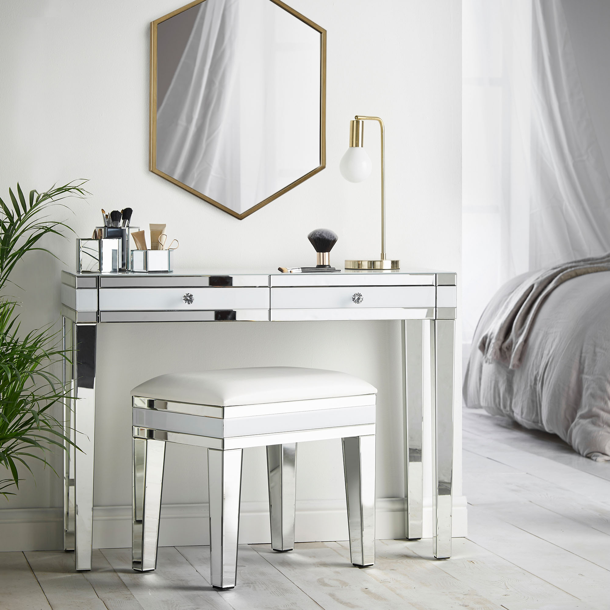 Beautify White Mirrored Furniture Dressing Table Stool